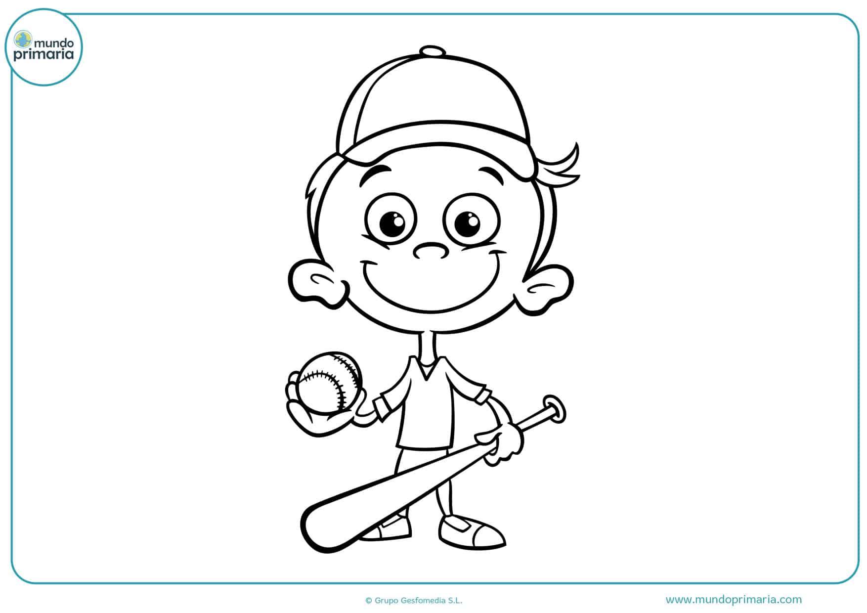 dibujos de niños jugando al béisbol para colorear