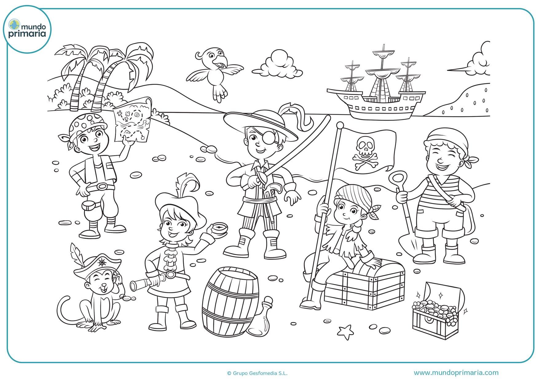 dibujos de niños piratas para colorear