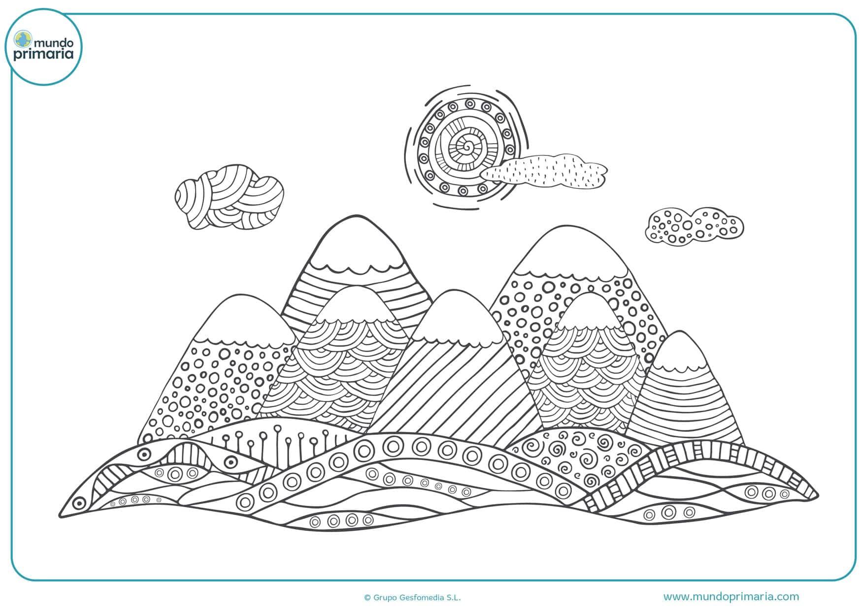 dibujos de paisajes para colorear para niños de primaria