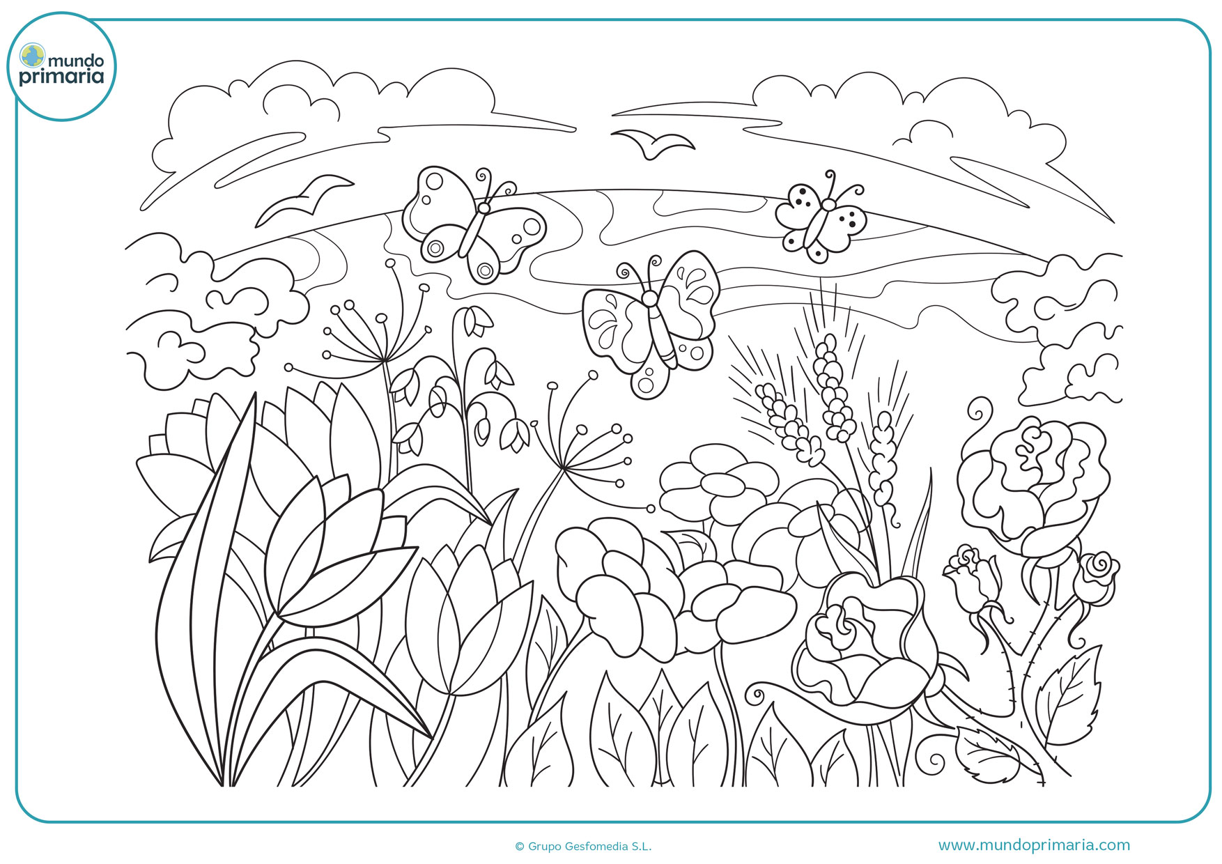 dibujos de paisajes de primavera para colorear