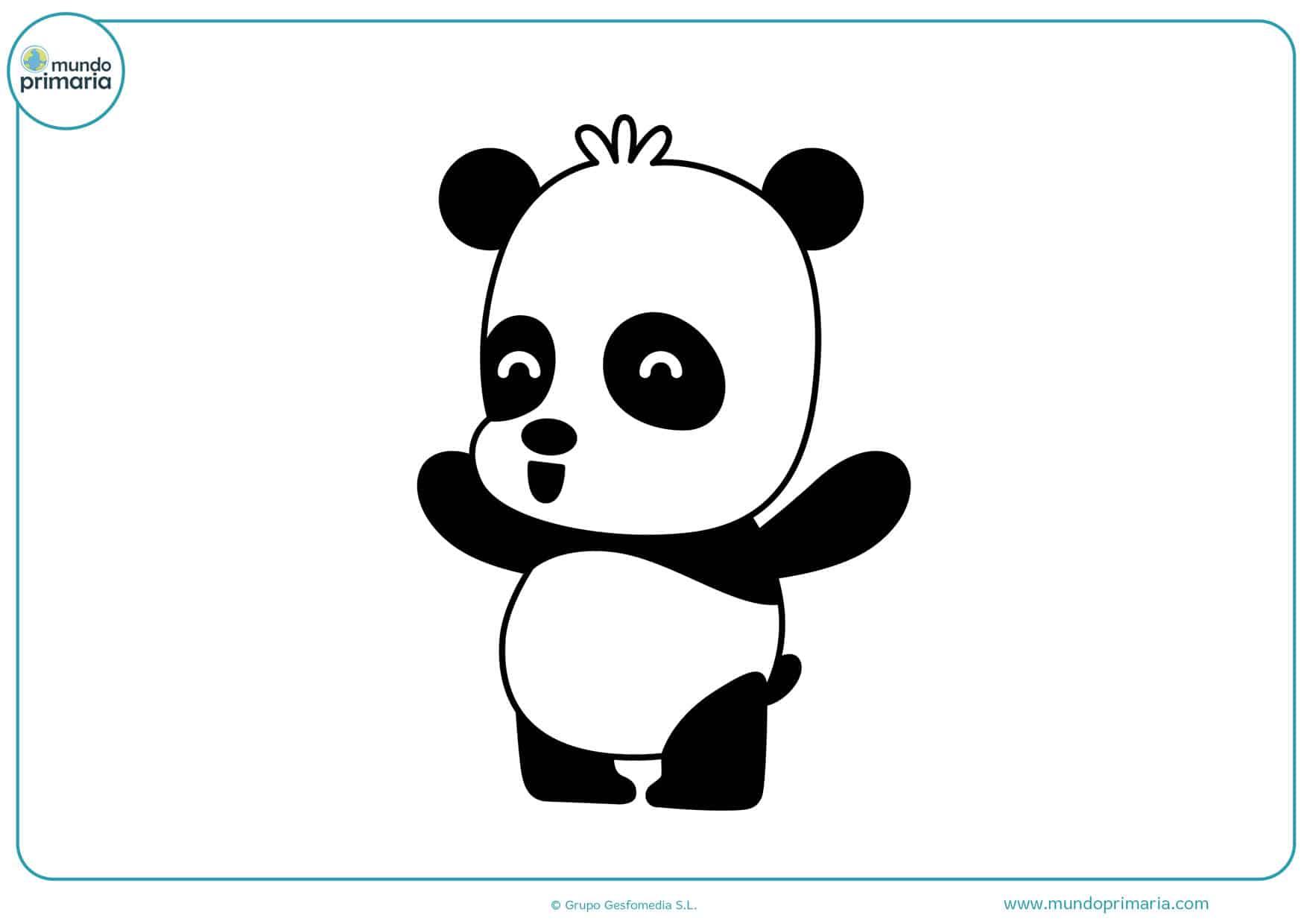 dibujos panda feliz para imprimir y colorear