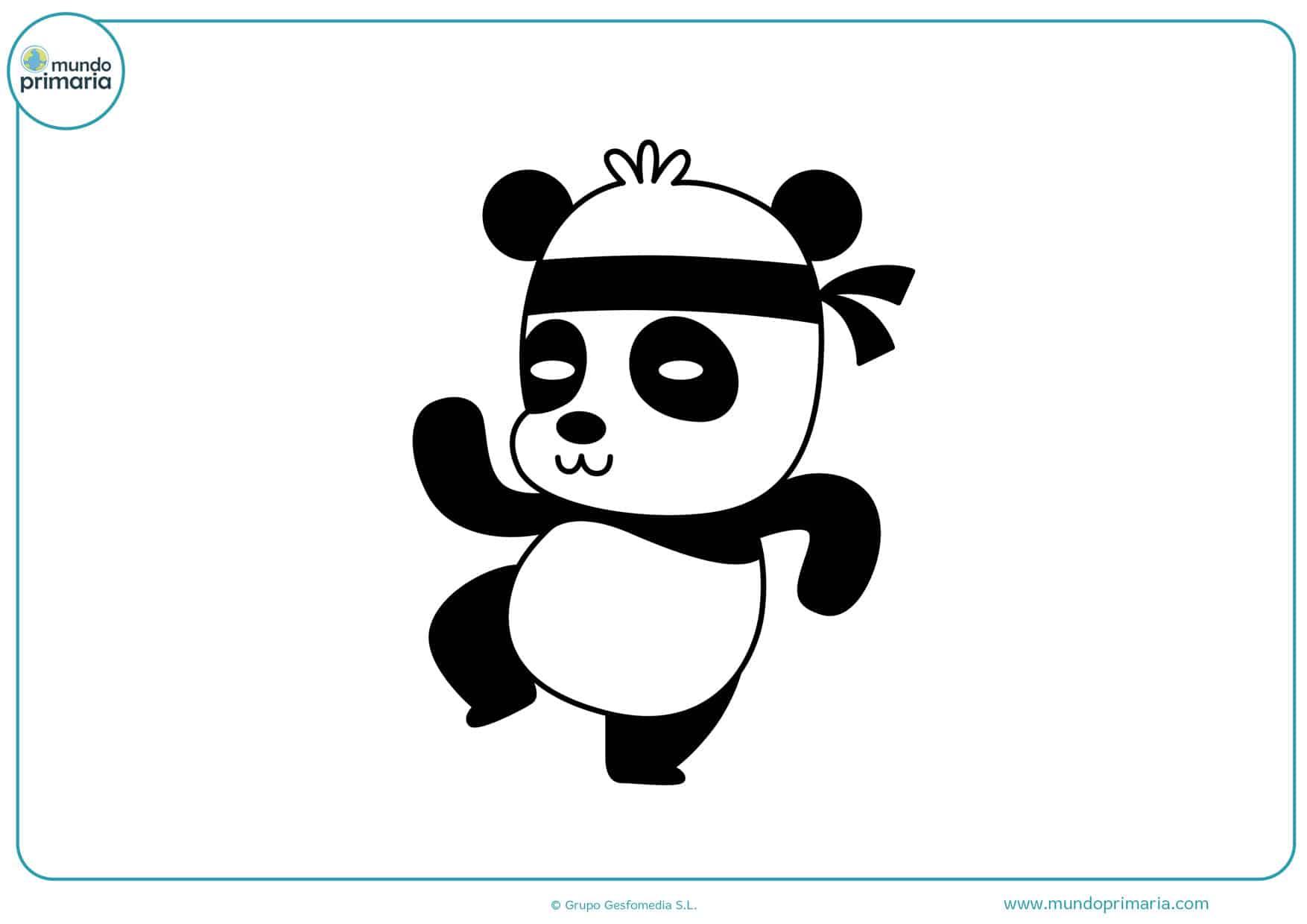 dibujos de panda karateca para colorear