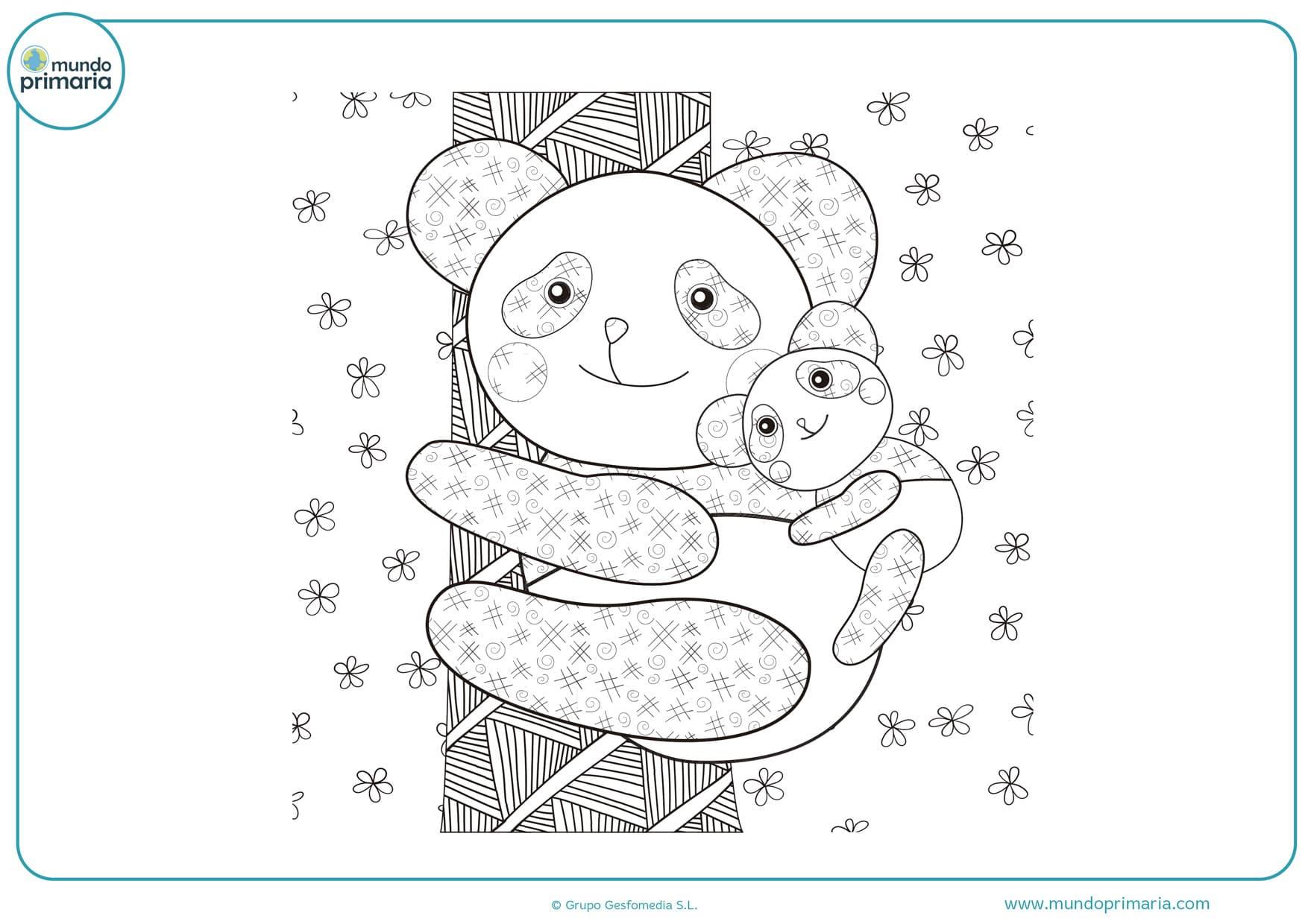dibujos de pandas divertidos para colorear