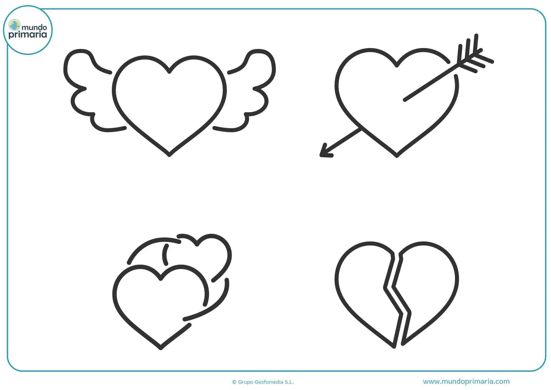 dibujos para colorear de amor corazones con alas