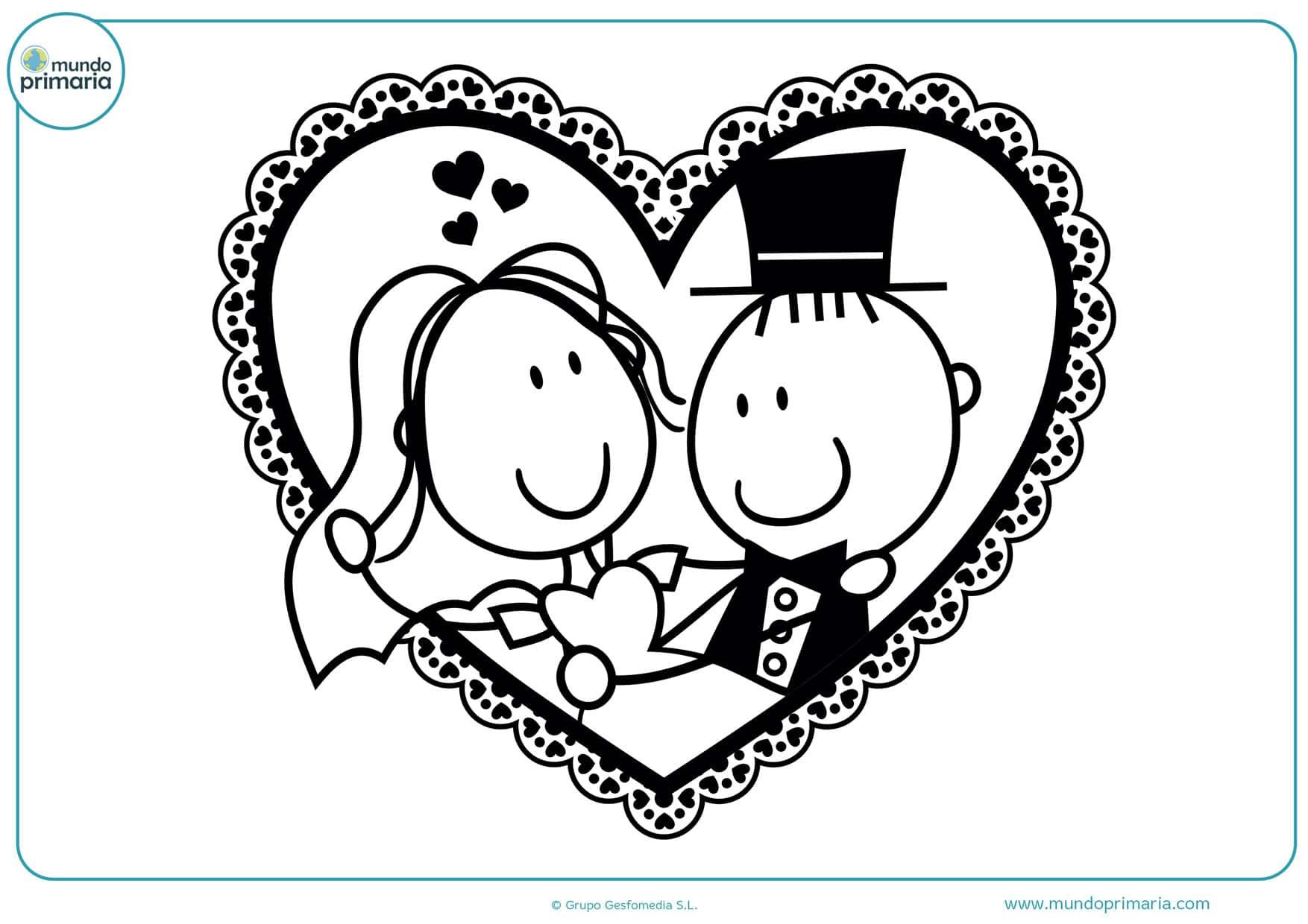 dibujos para colorear de bodas matrimonio