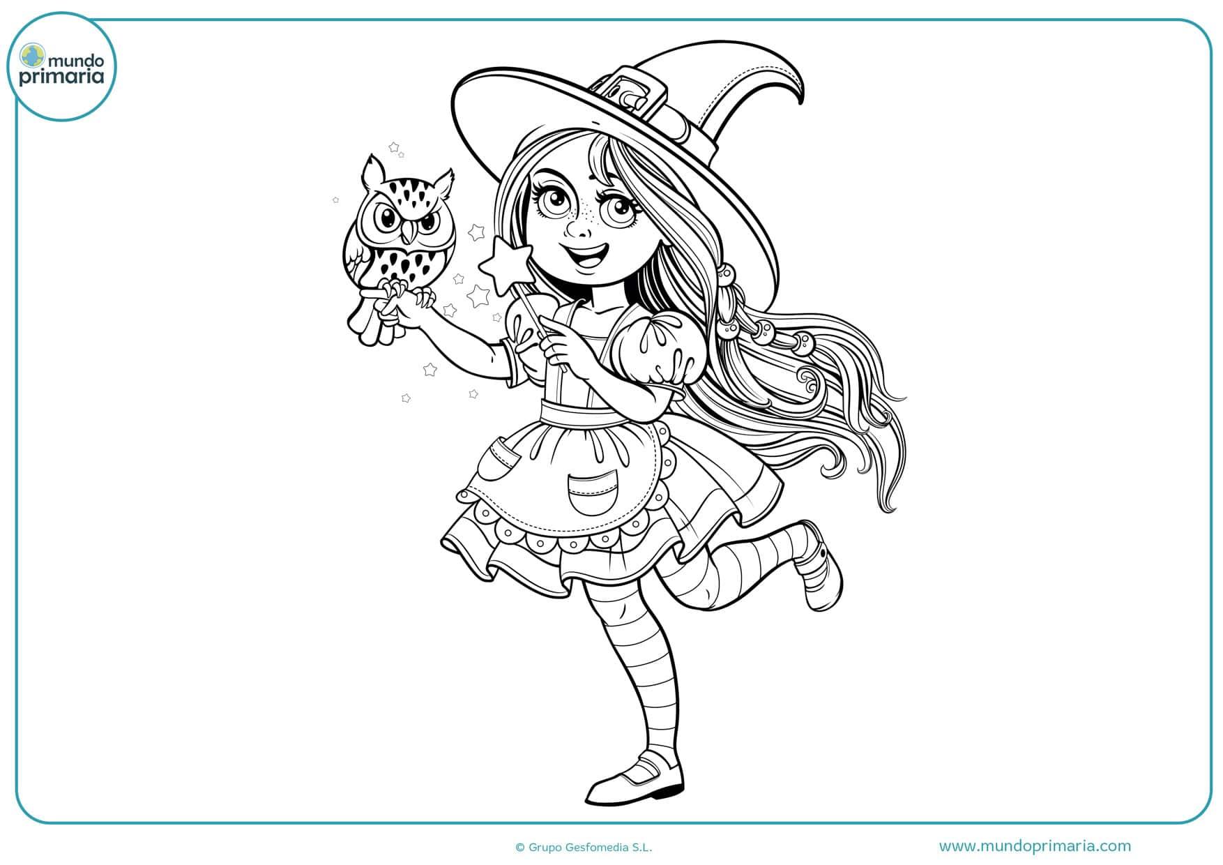 dibujos para colorear de brujas de halloween