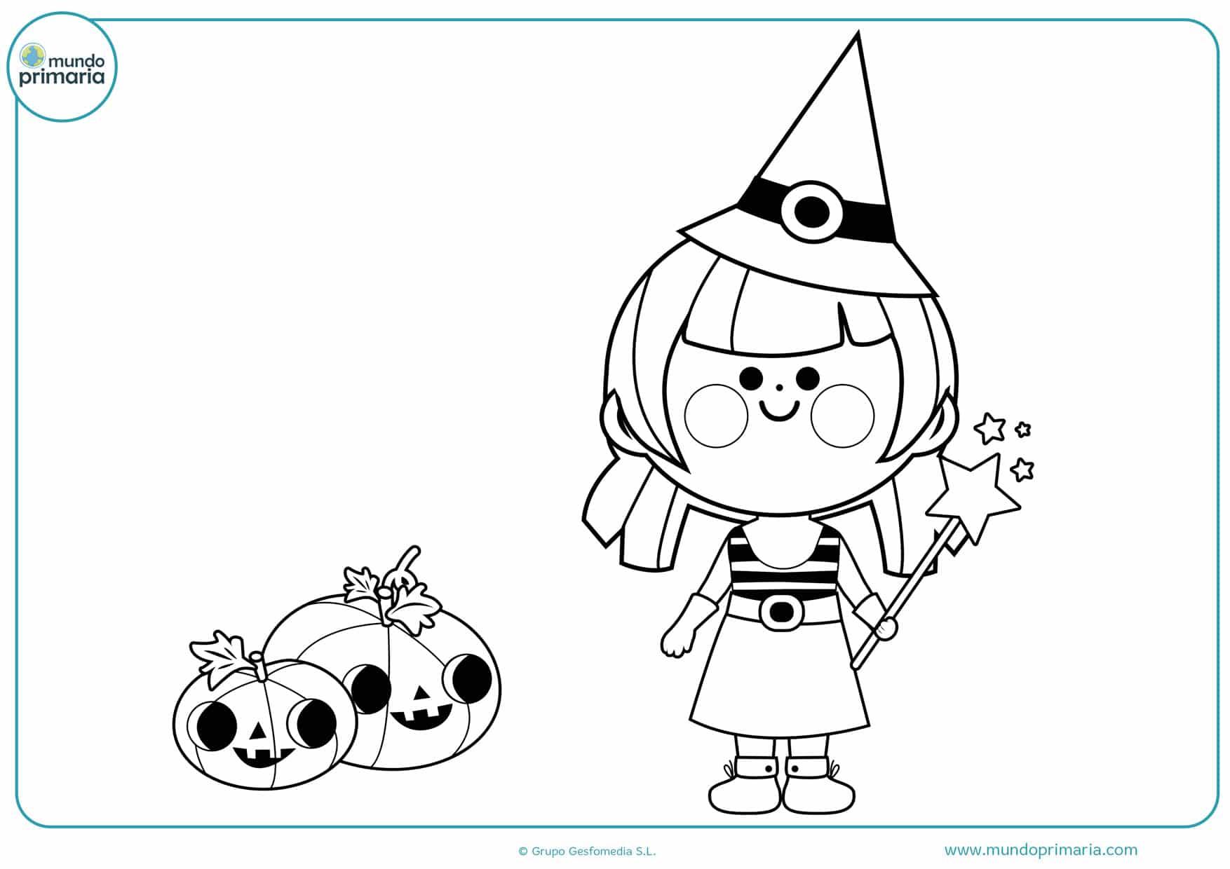 dibujos para colorear de brujas infantiles