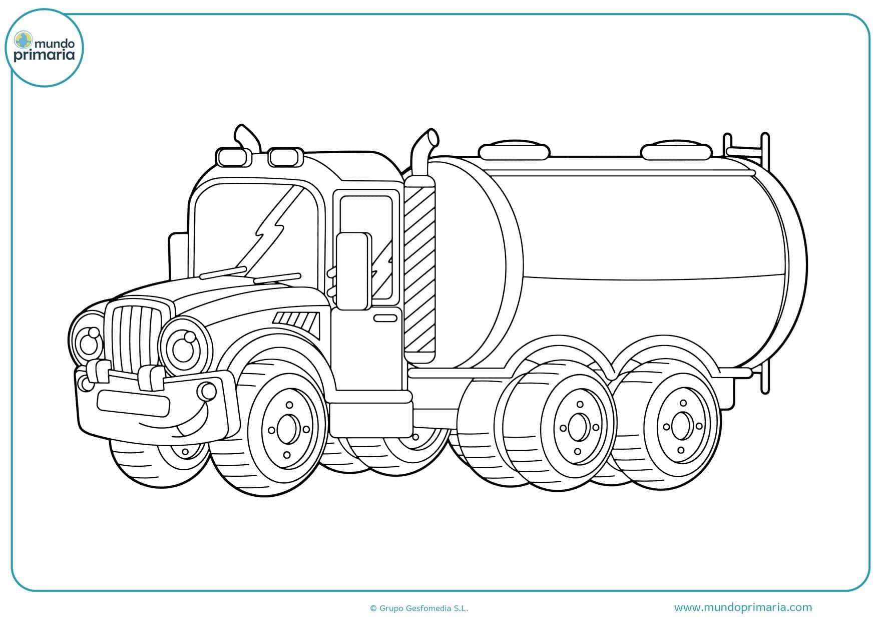 dibujos para colorear camiones de carga larga