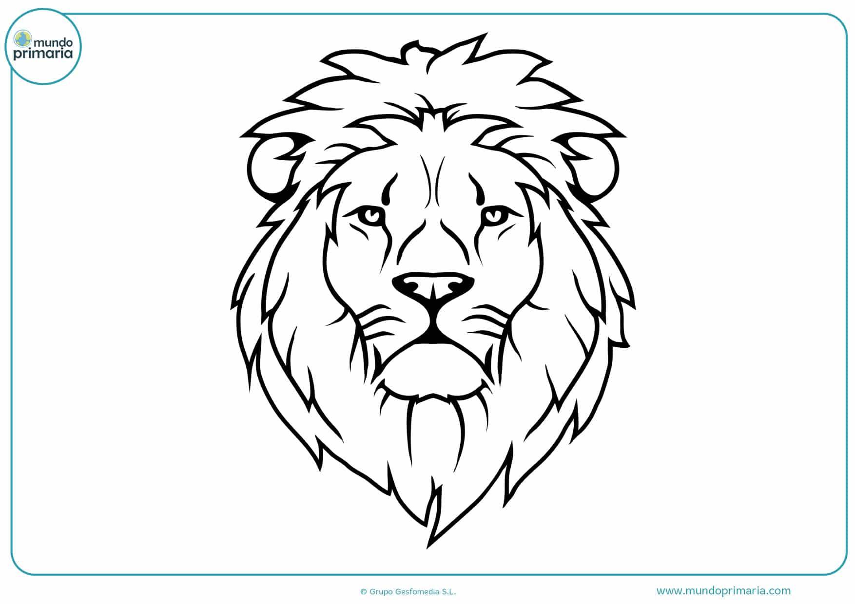 dibujos para colorear de caras de leones
