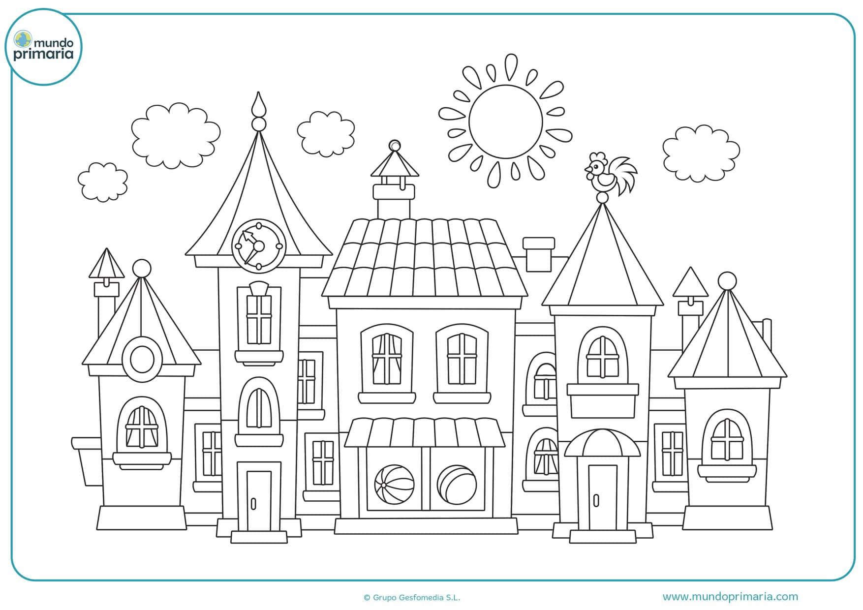 dibujos para colorear de casas y edificios