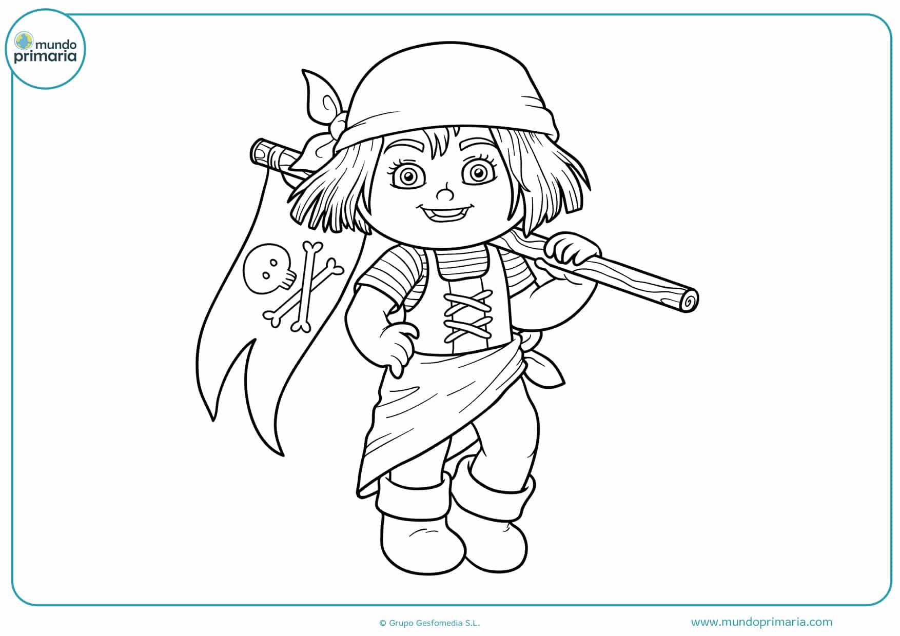 dibujos para colorear de chicas piratas
