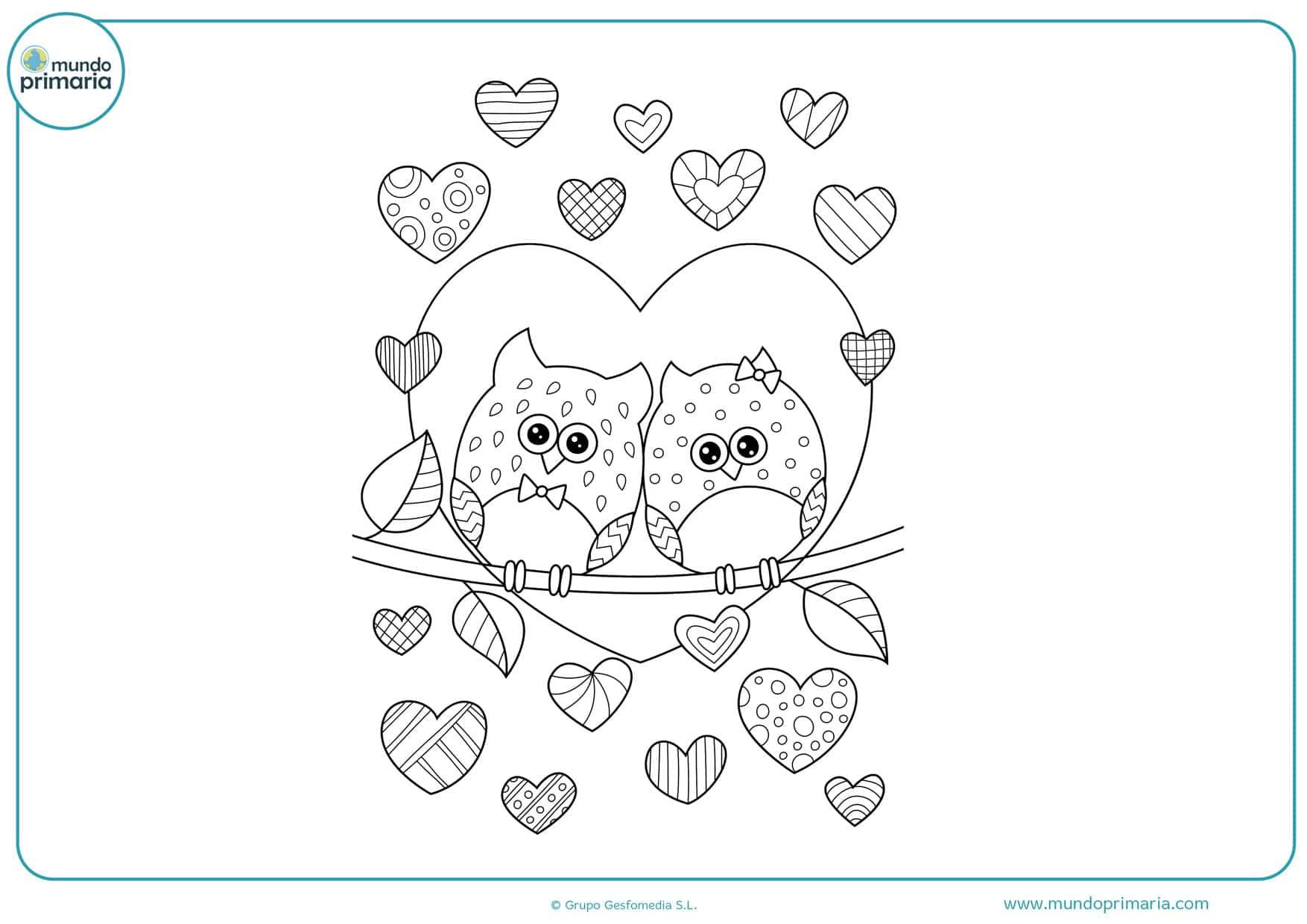 dibujos para colorear de corazones bonitos