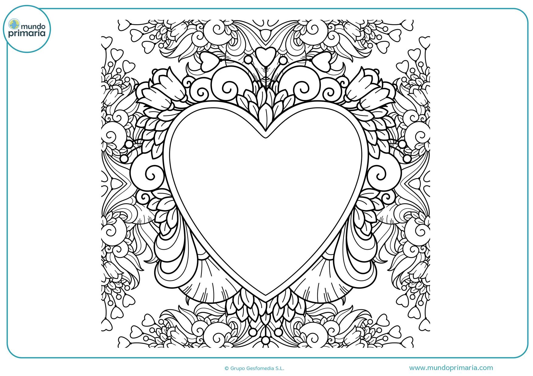 dibujos para colorear de corazones y rosas