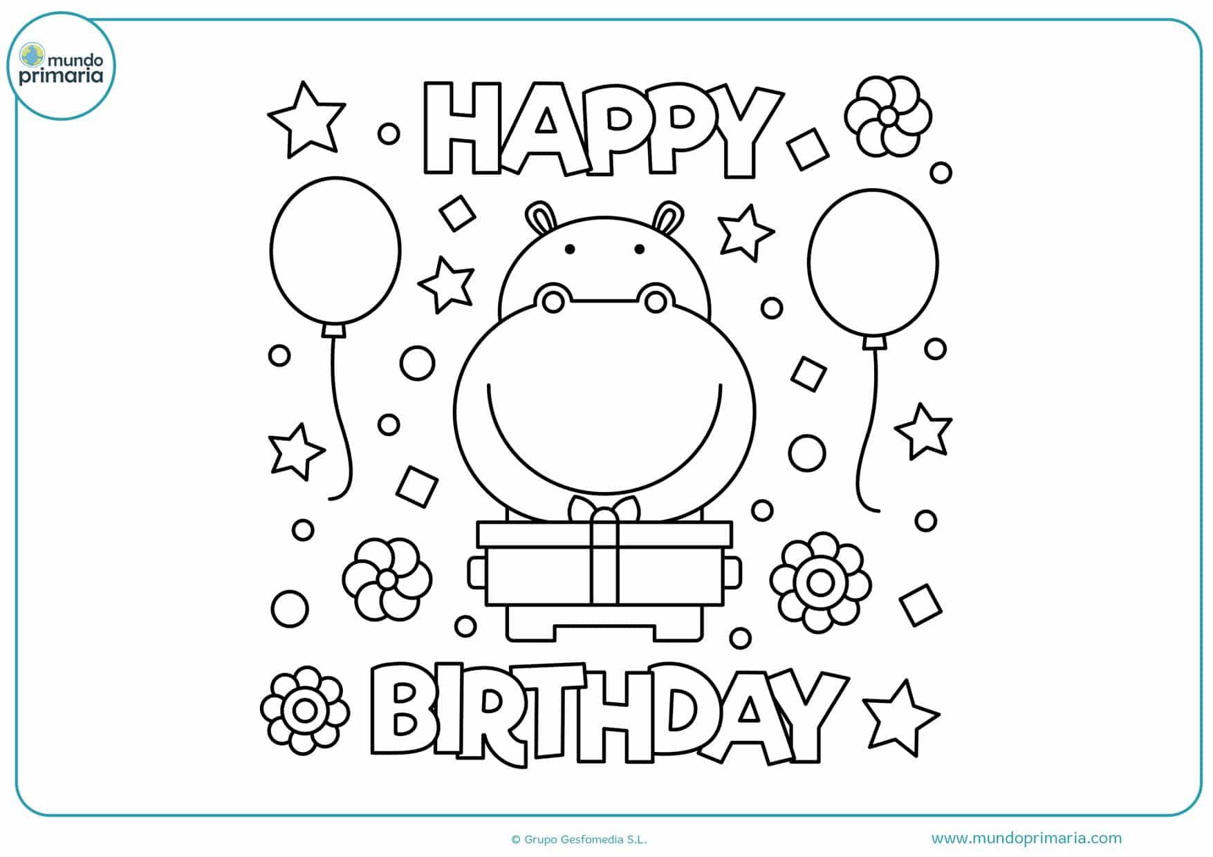 dibujos para colorear de cumpleaños feliz