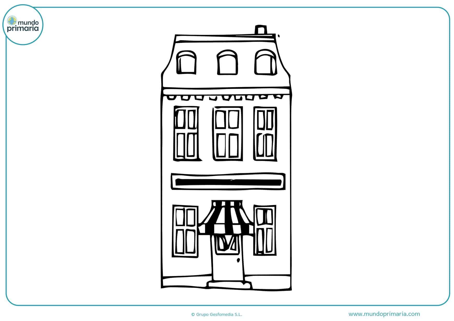 dibujos para colorear de edificios y casas