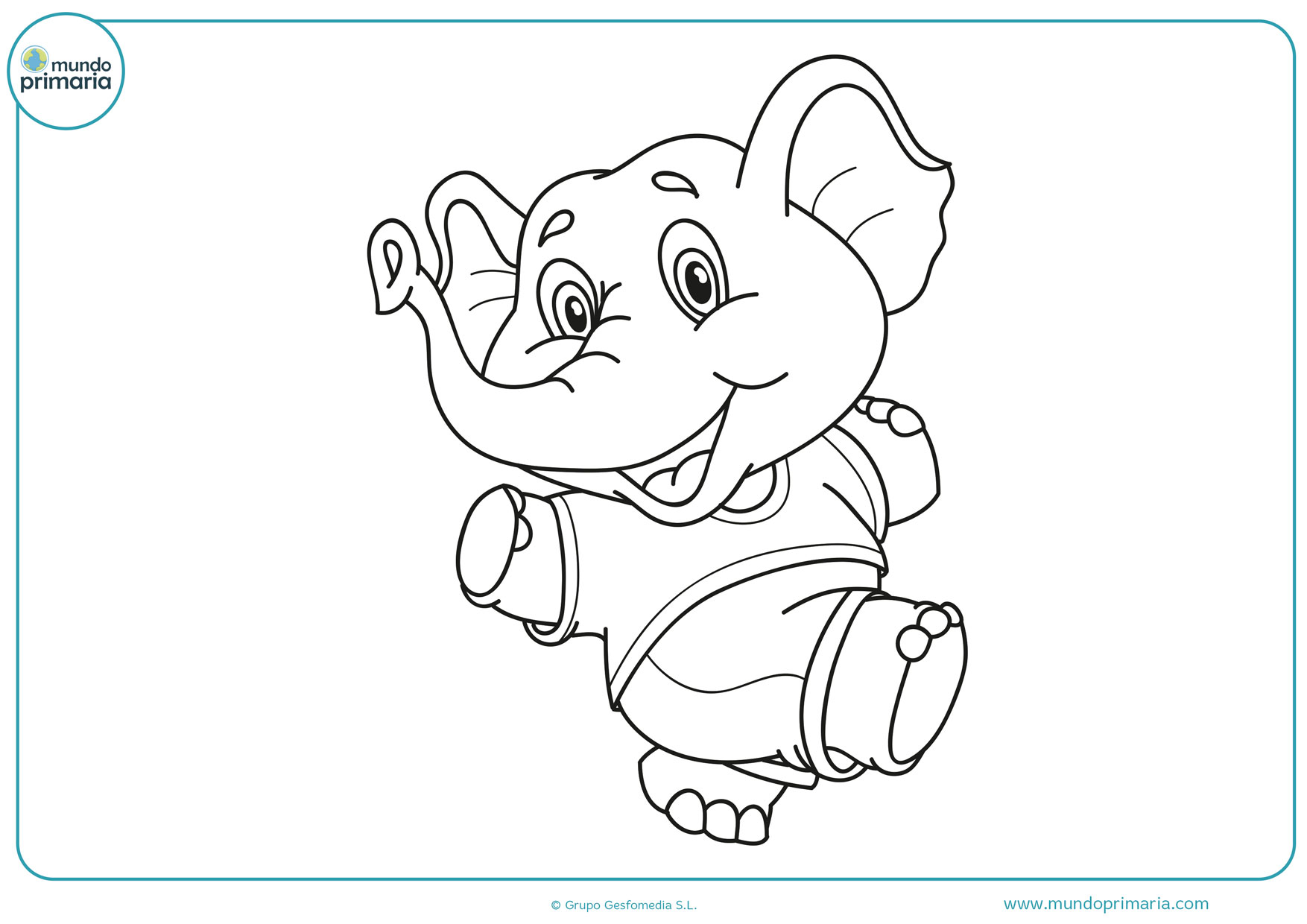 dibujos para colorear de elefantes bebes