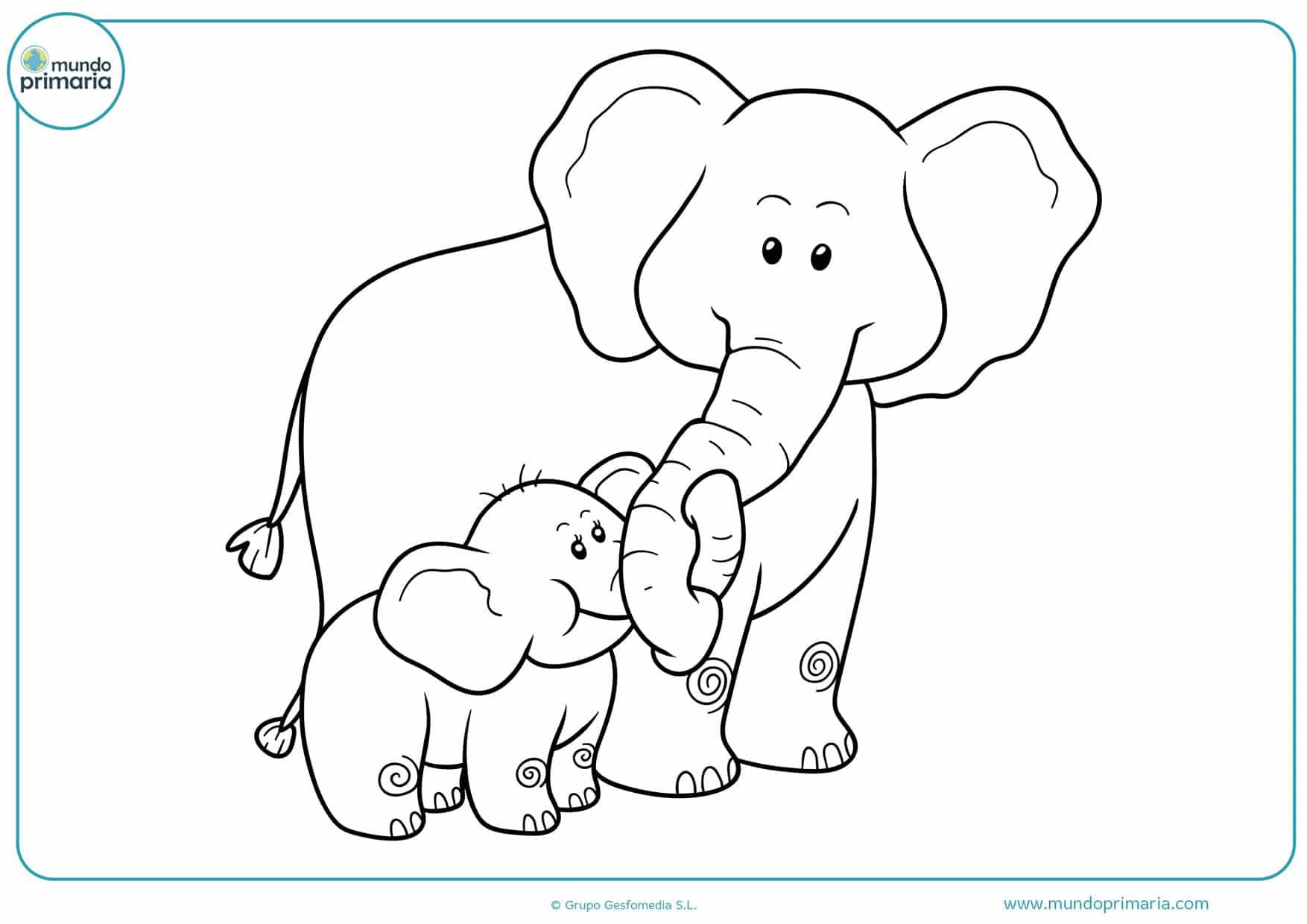 dibujos para colorear de elefantes infantiles