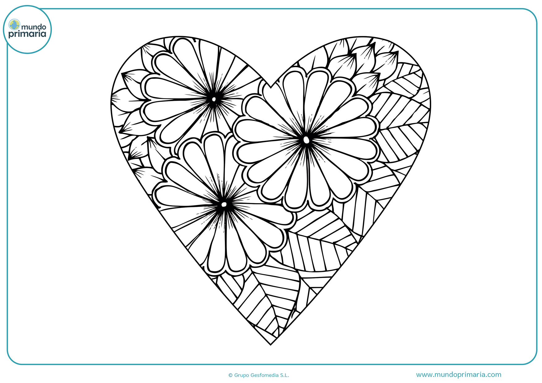 dibujos para colorear de flores y corazones