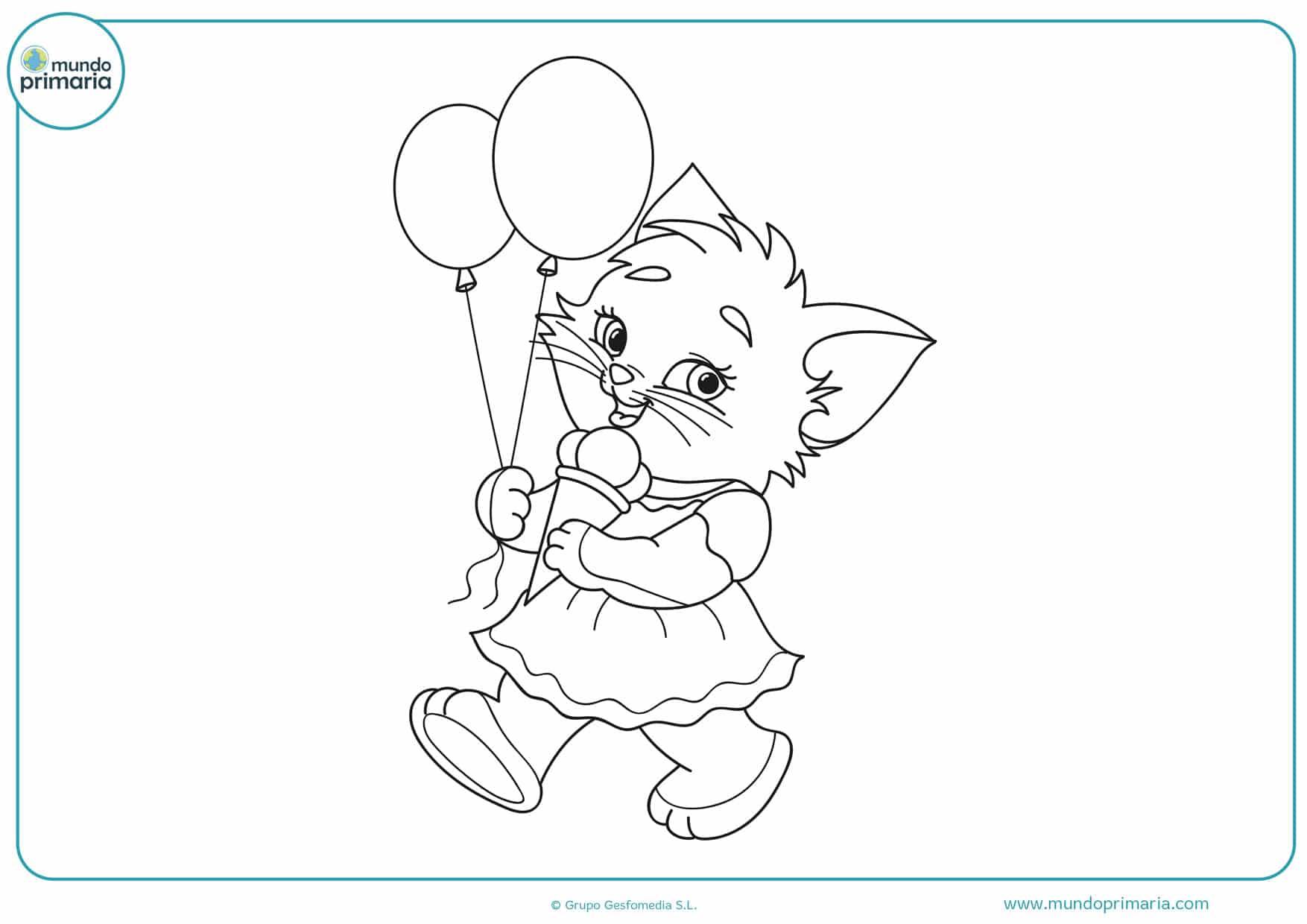 dibujos para colorear de gatos tiernos