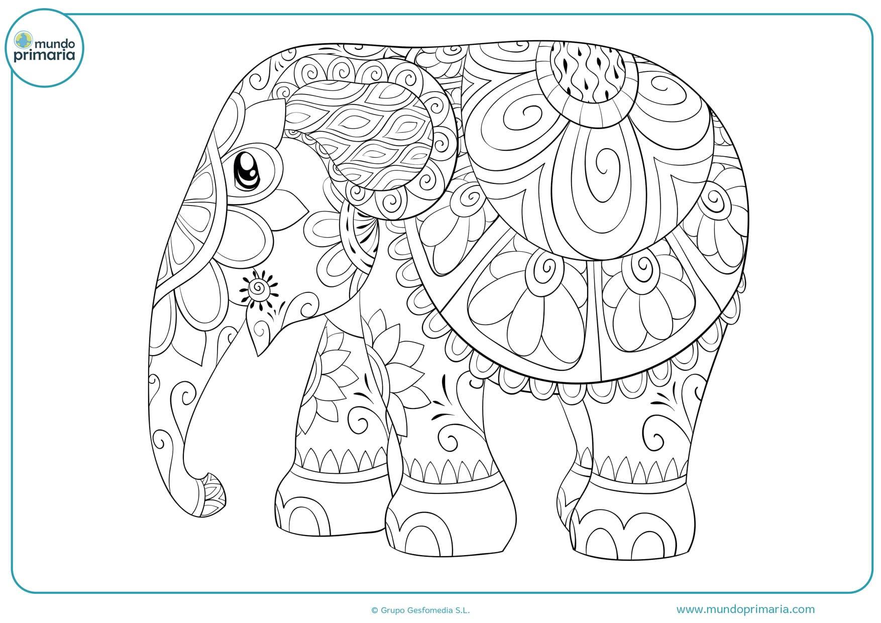dibujos para colorear e imprimir de elefantes