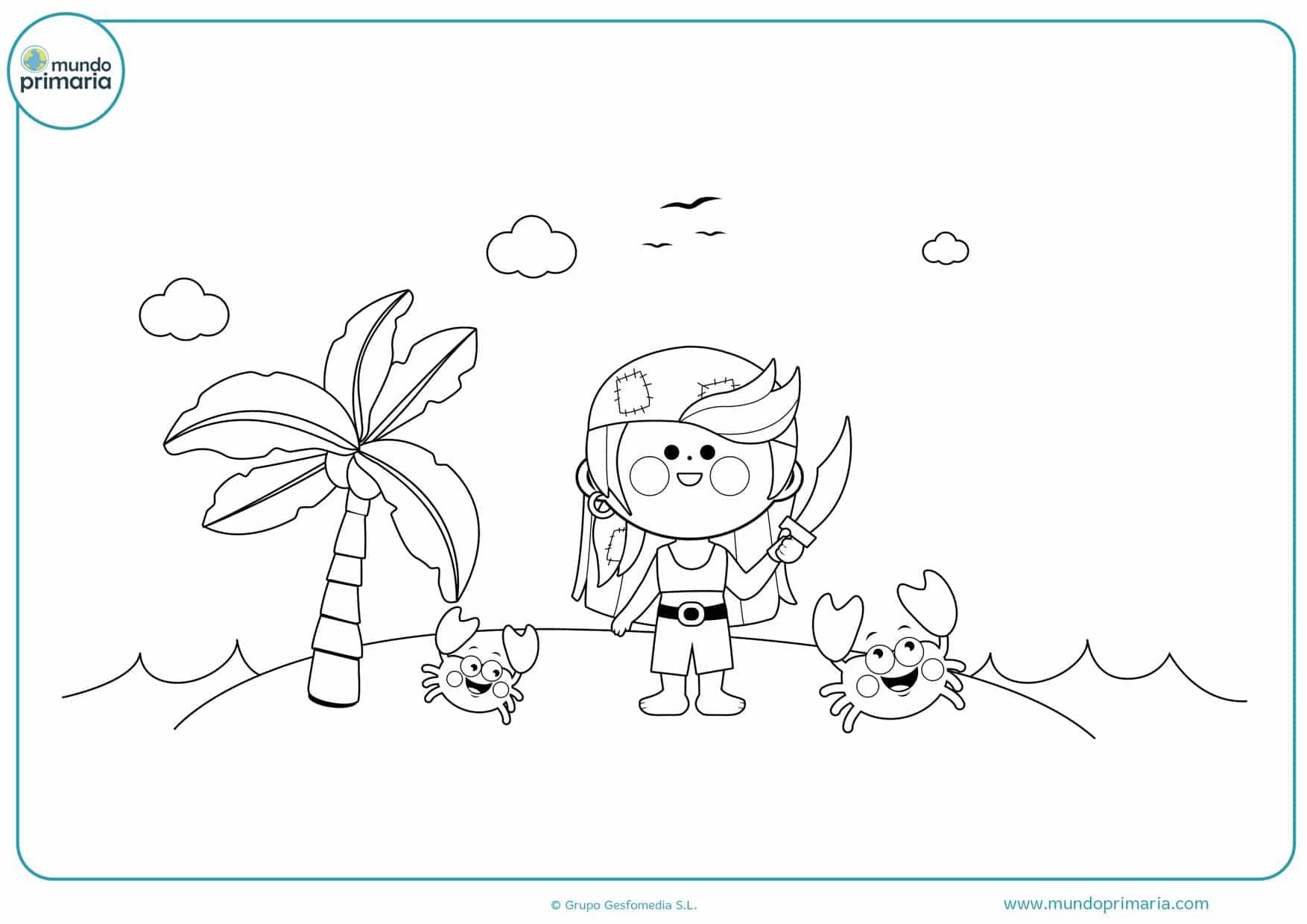 dibujos para colorear islas piratas