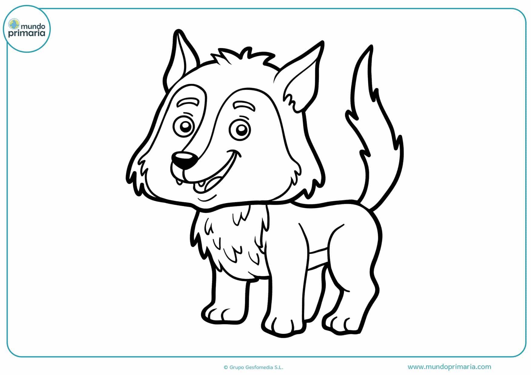 dibujos para colorear de lobos infantiles