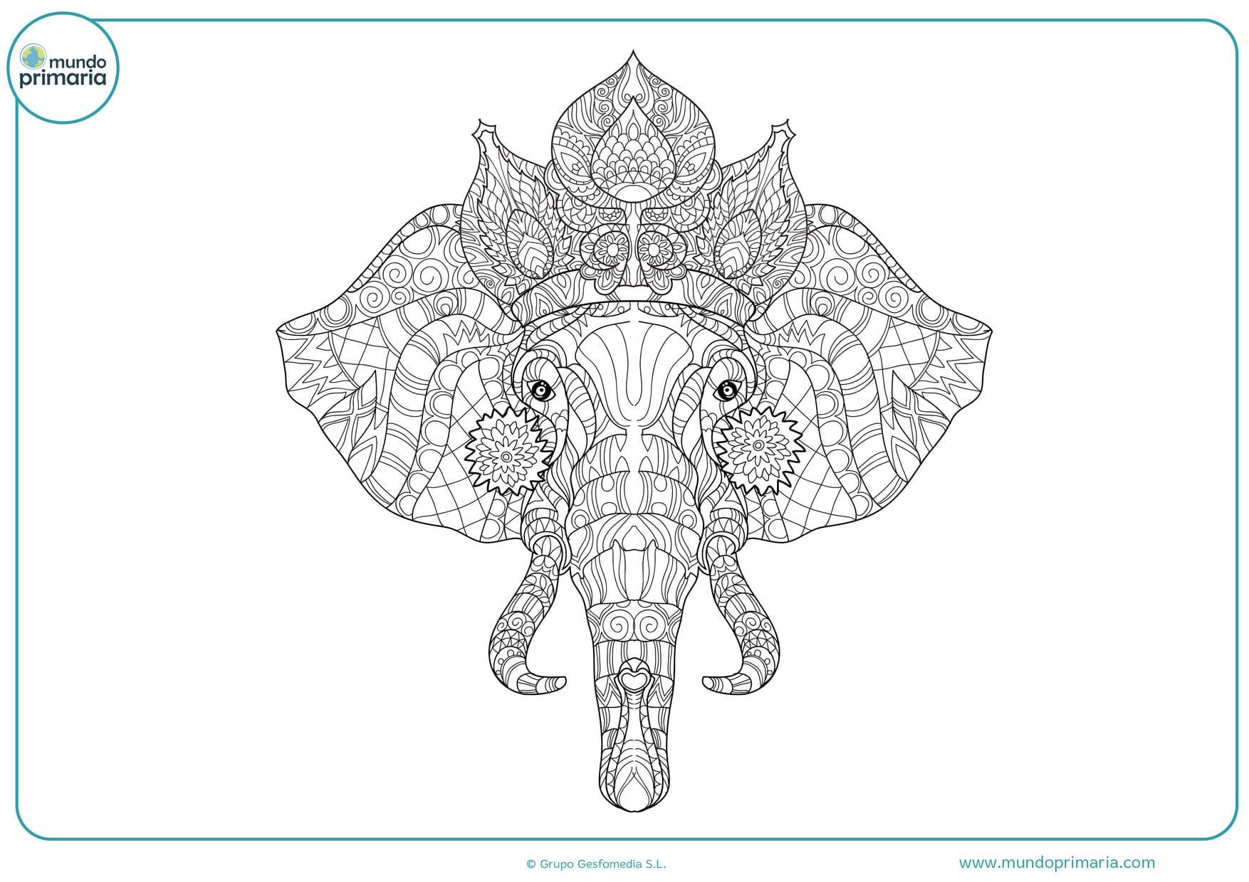 dibujos para colorear de mándalas de elefantes