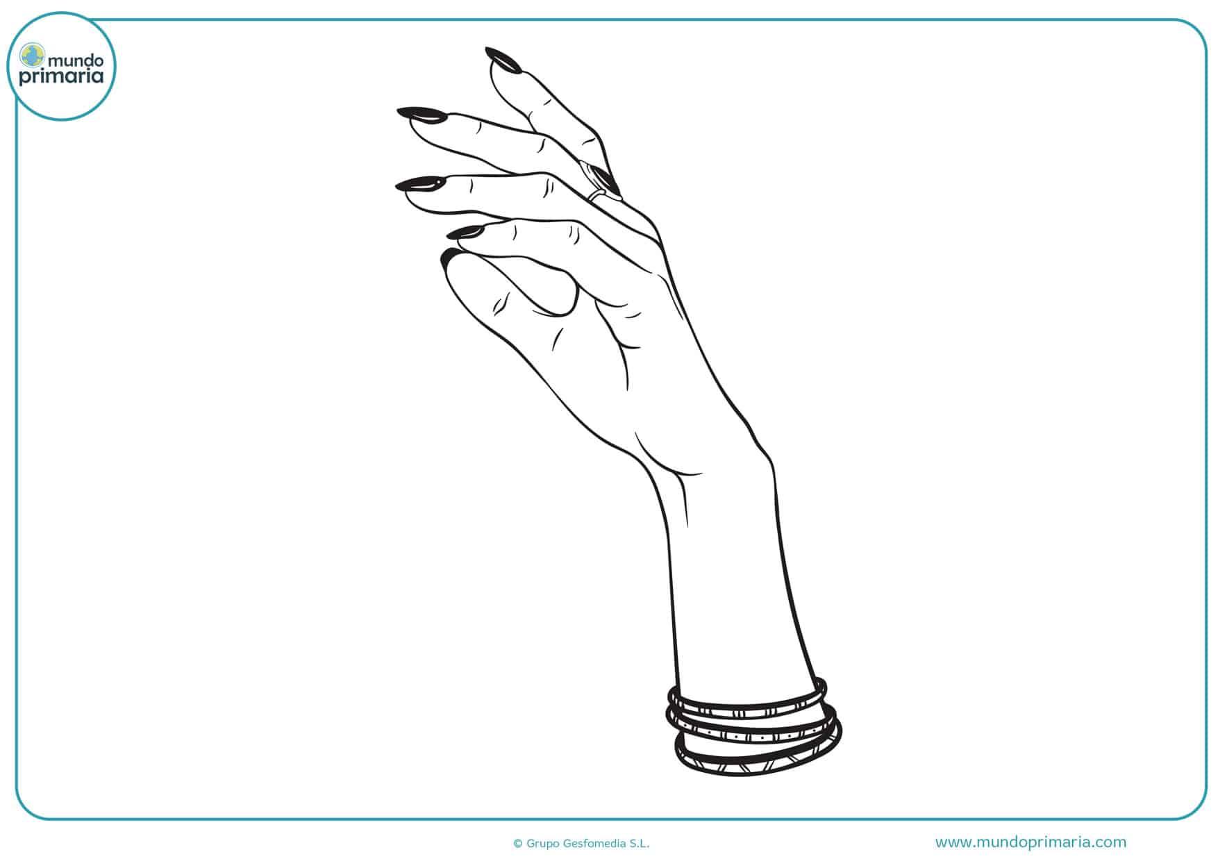 dibujos para colorear de manos de mujer