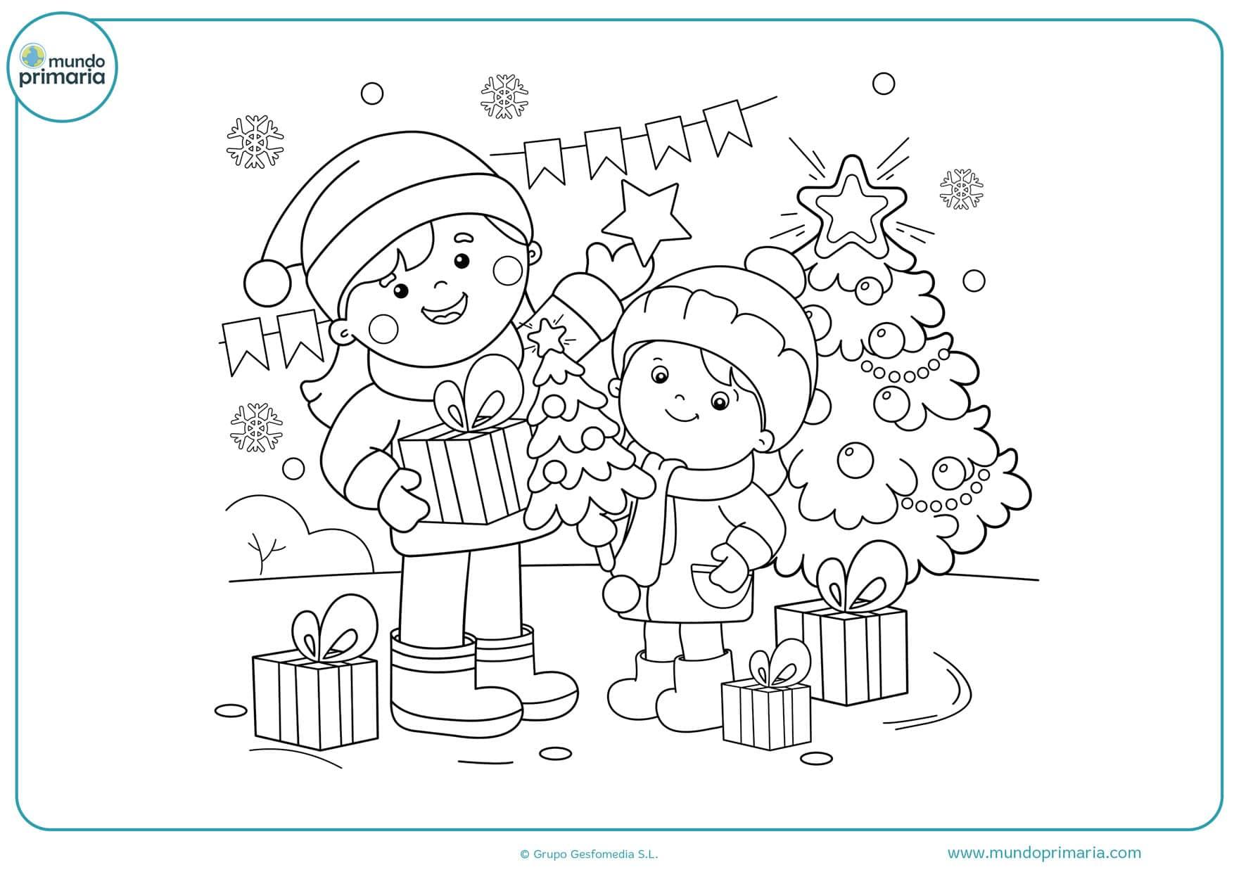 dibujos para colorear de navidad regalos