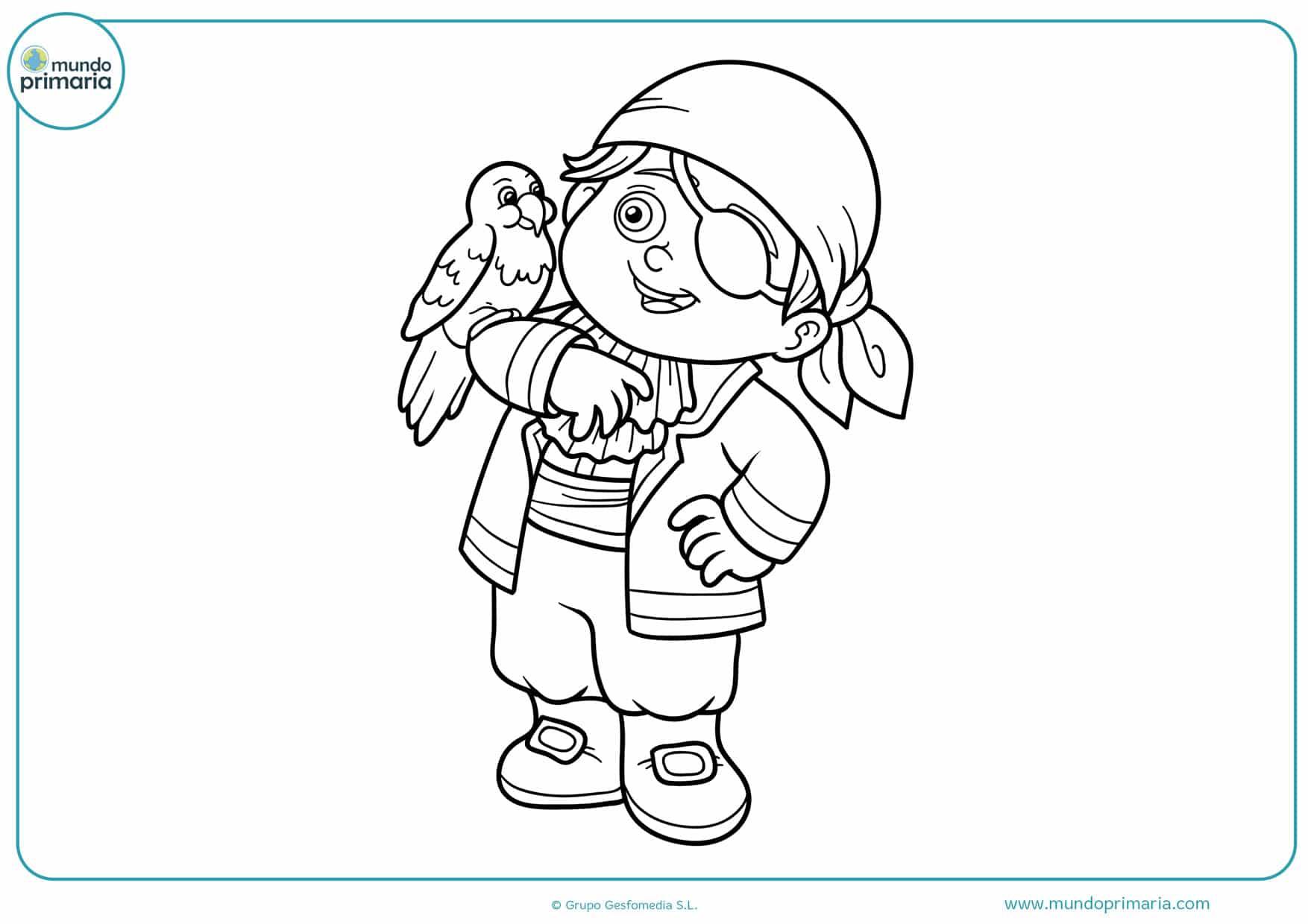 dibujos para colorear de niño y loro piratas