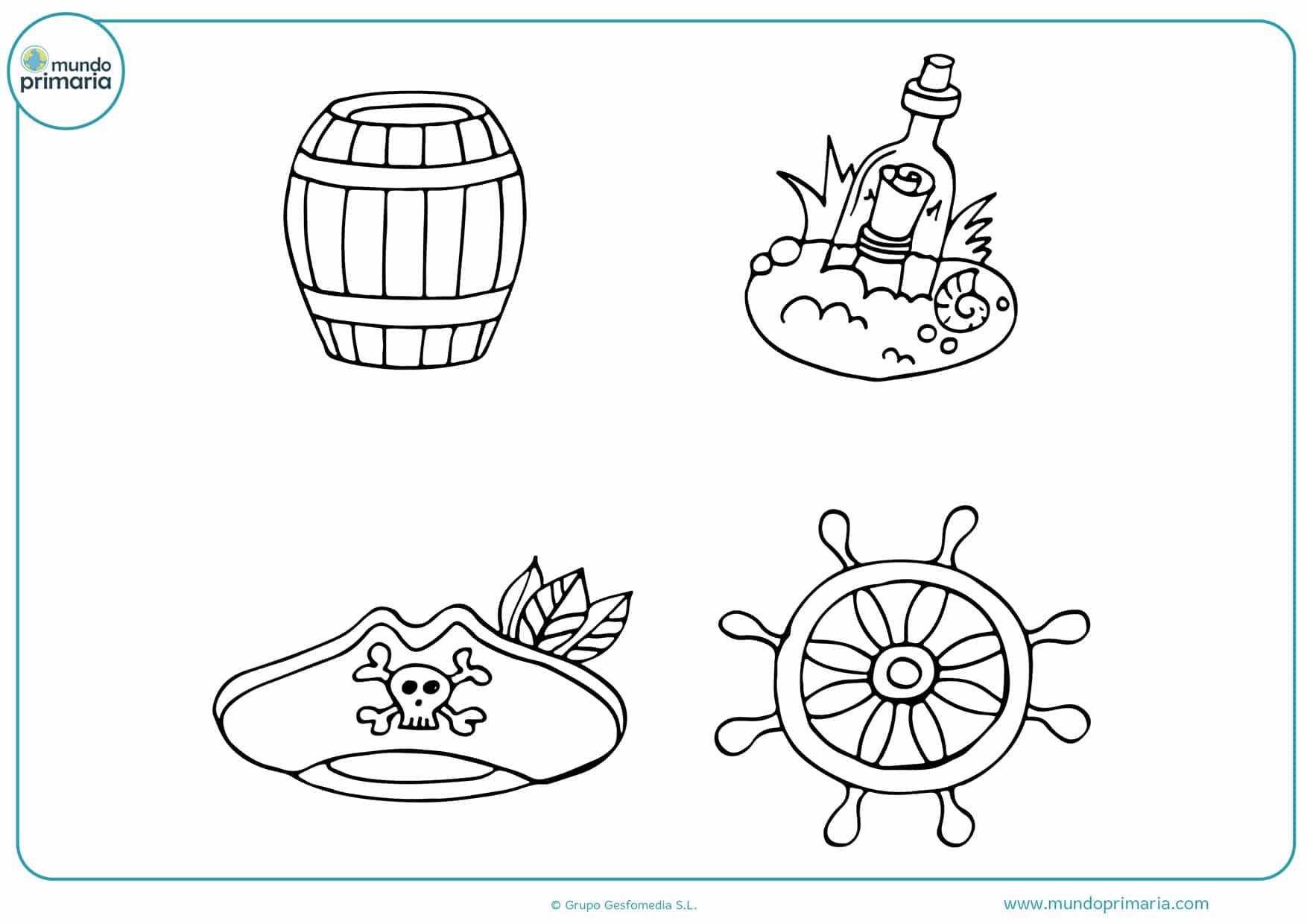 dibujos para colorear de objetos piratas