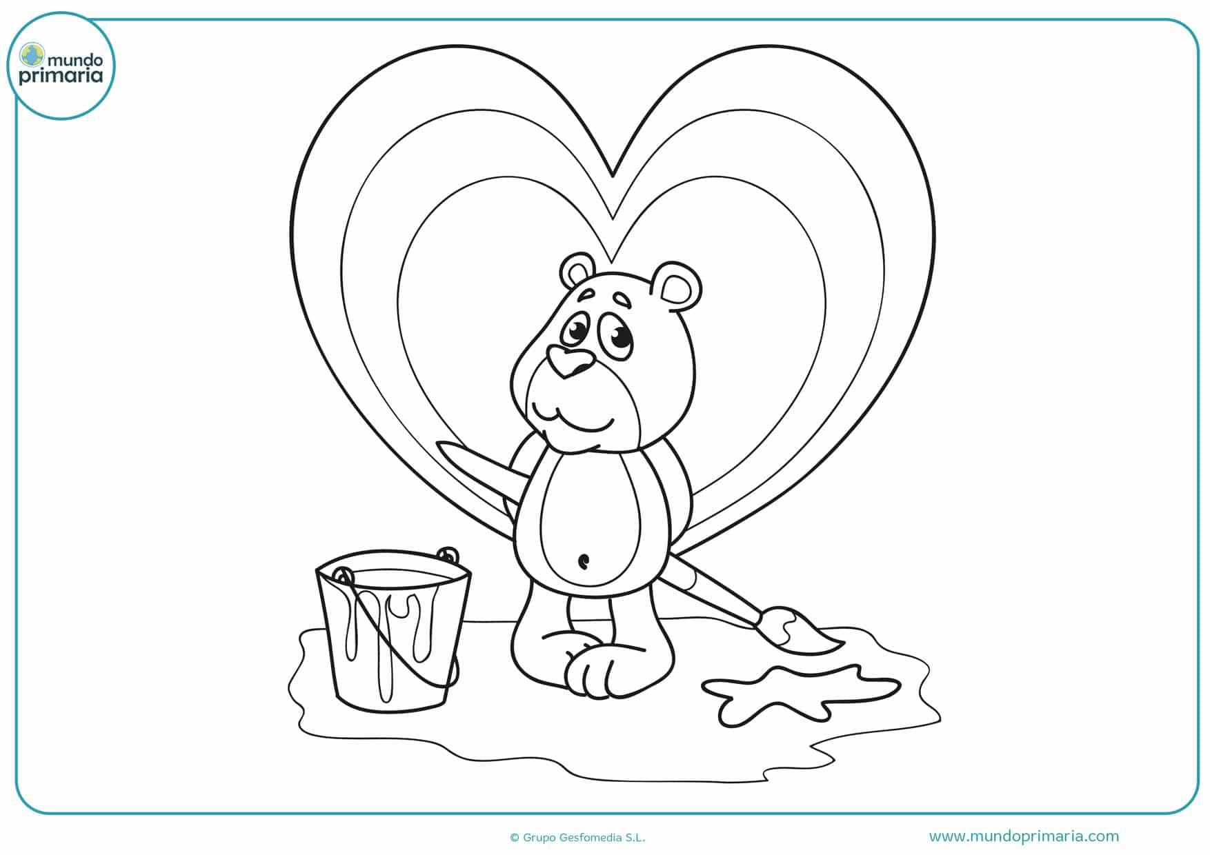 dibujos para colorear de osos cariñosos