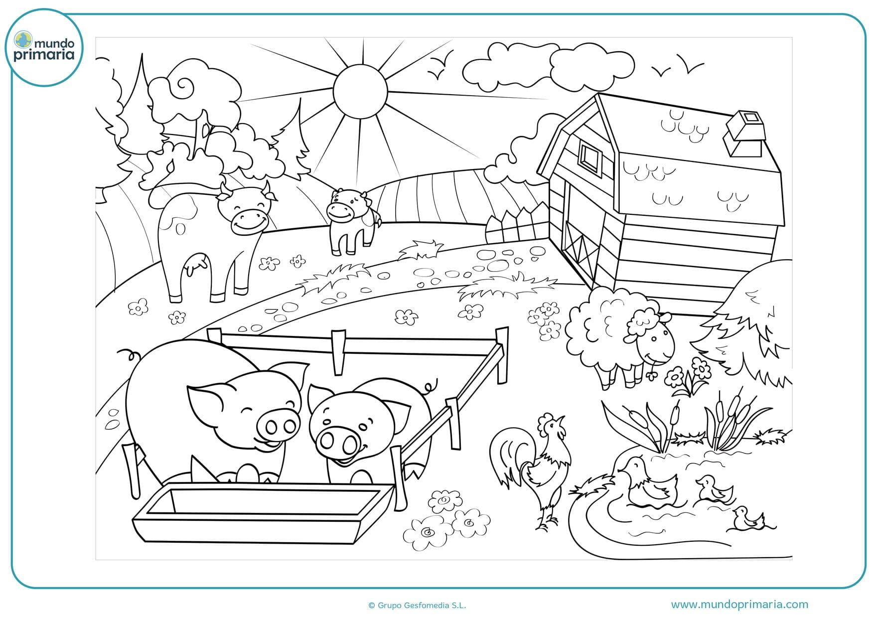dibujos para colorear de paisajes con animales