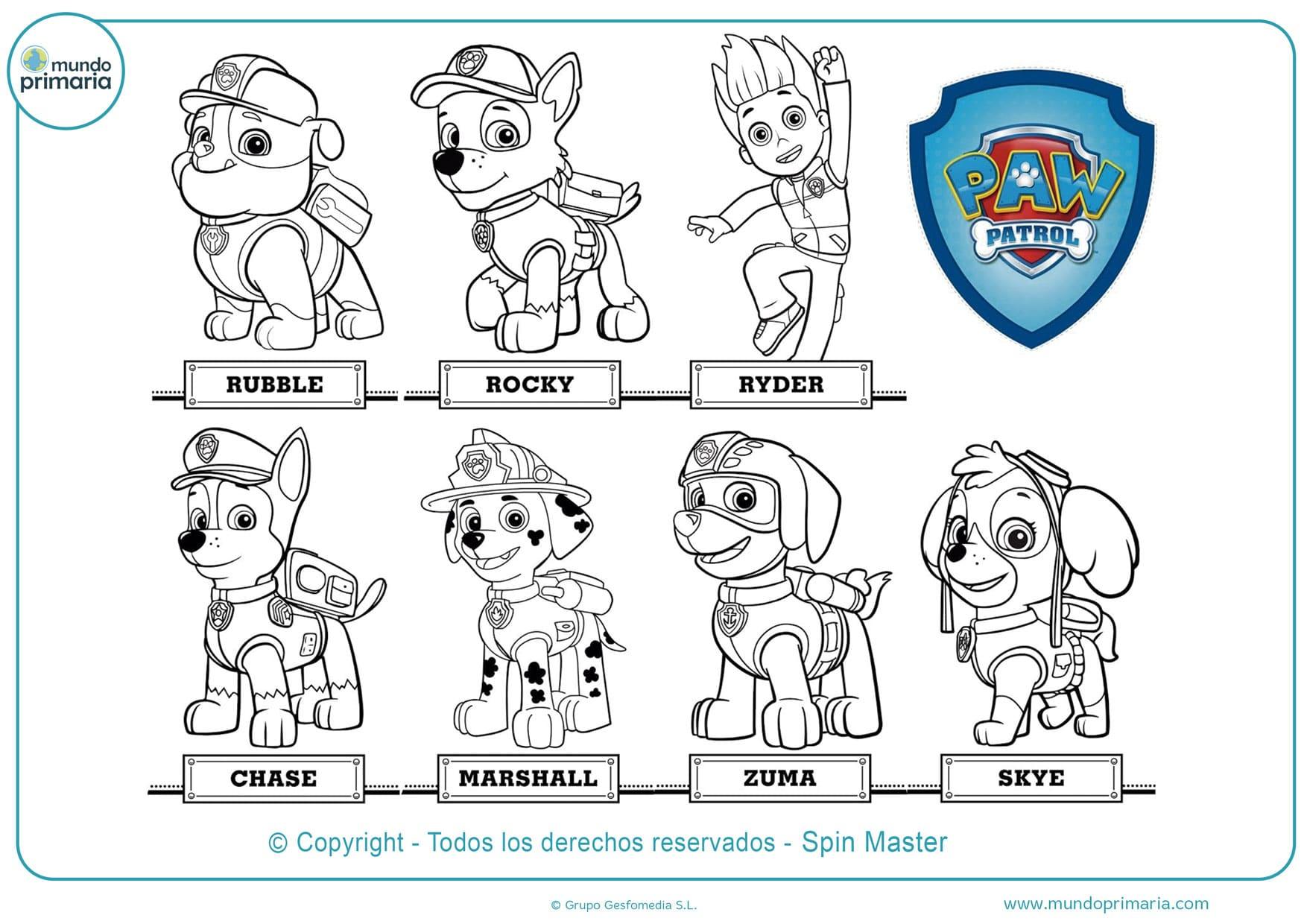 dibujos para colorear de la patrulla canina marshall