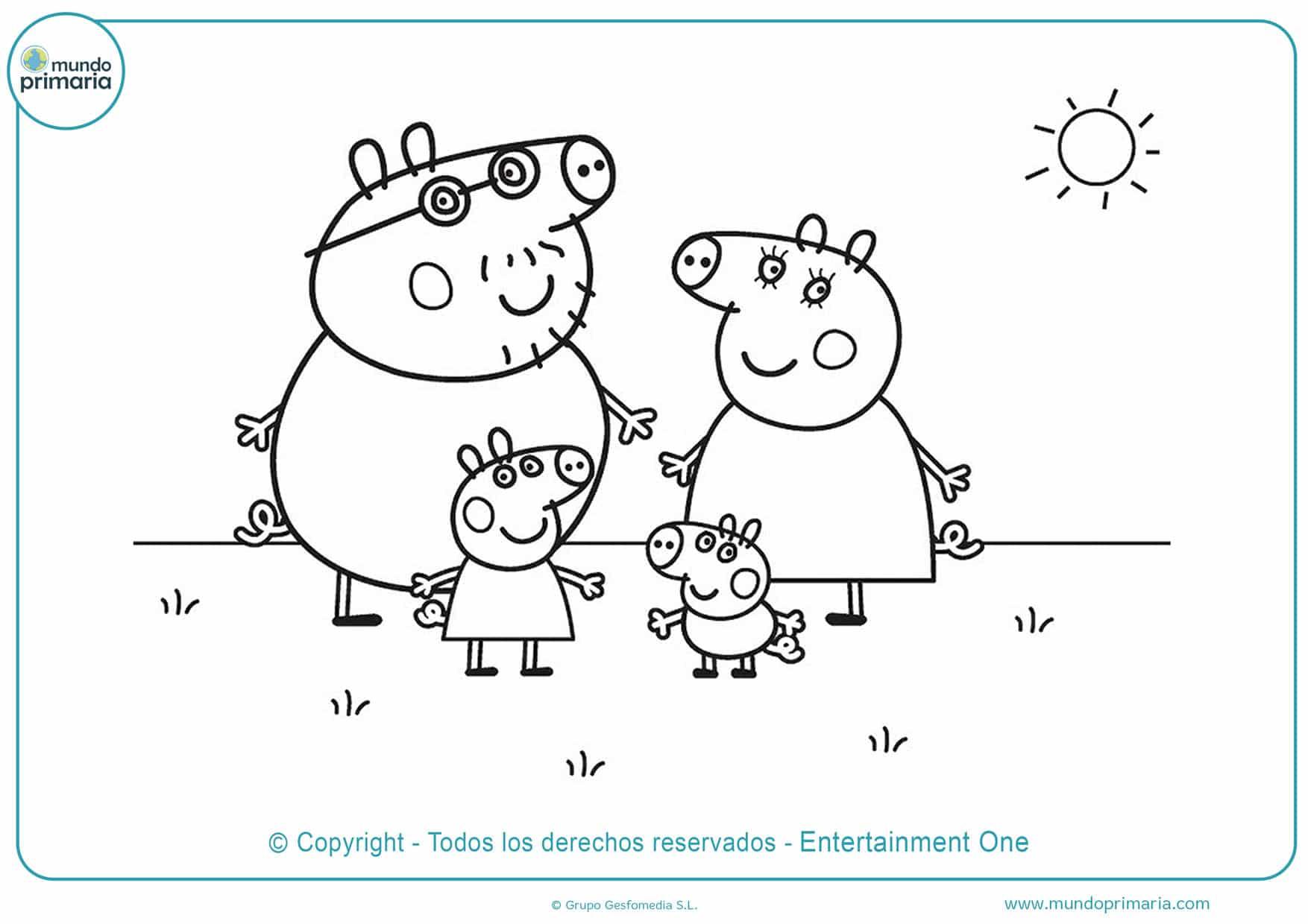 dibujos para colorear de peppa pig y su familia