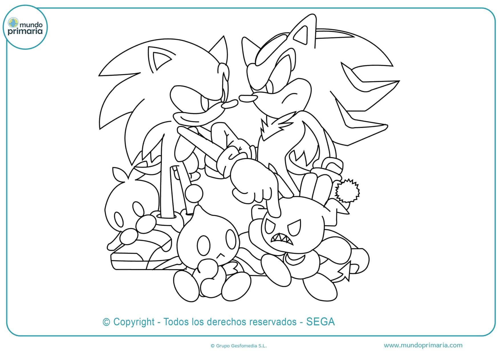dibujos para colorear de los personajes de sonic