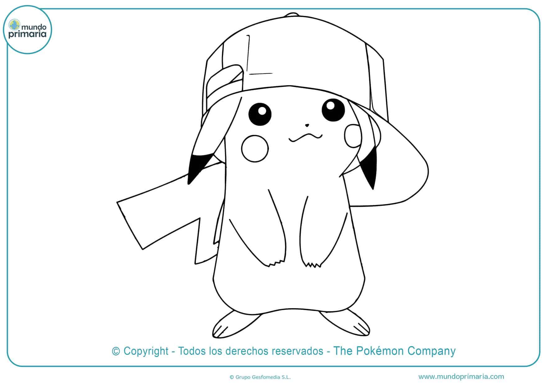 dibujos para colorear de pikachu con gorra