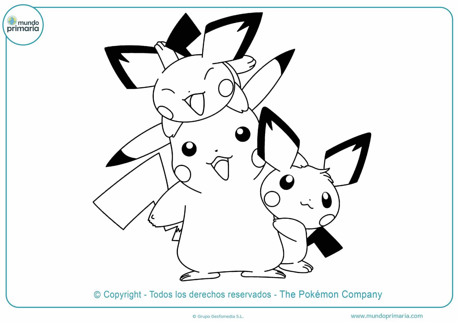 dibujos para colorear de pikachu raichu y pichu