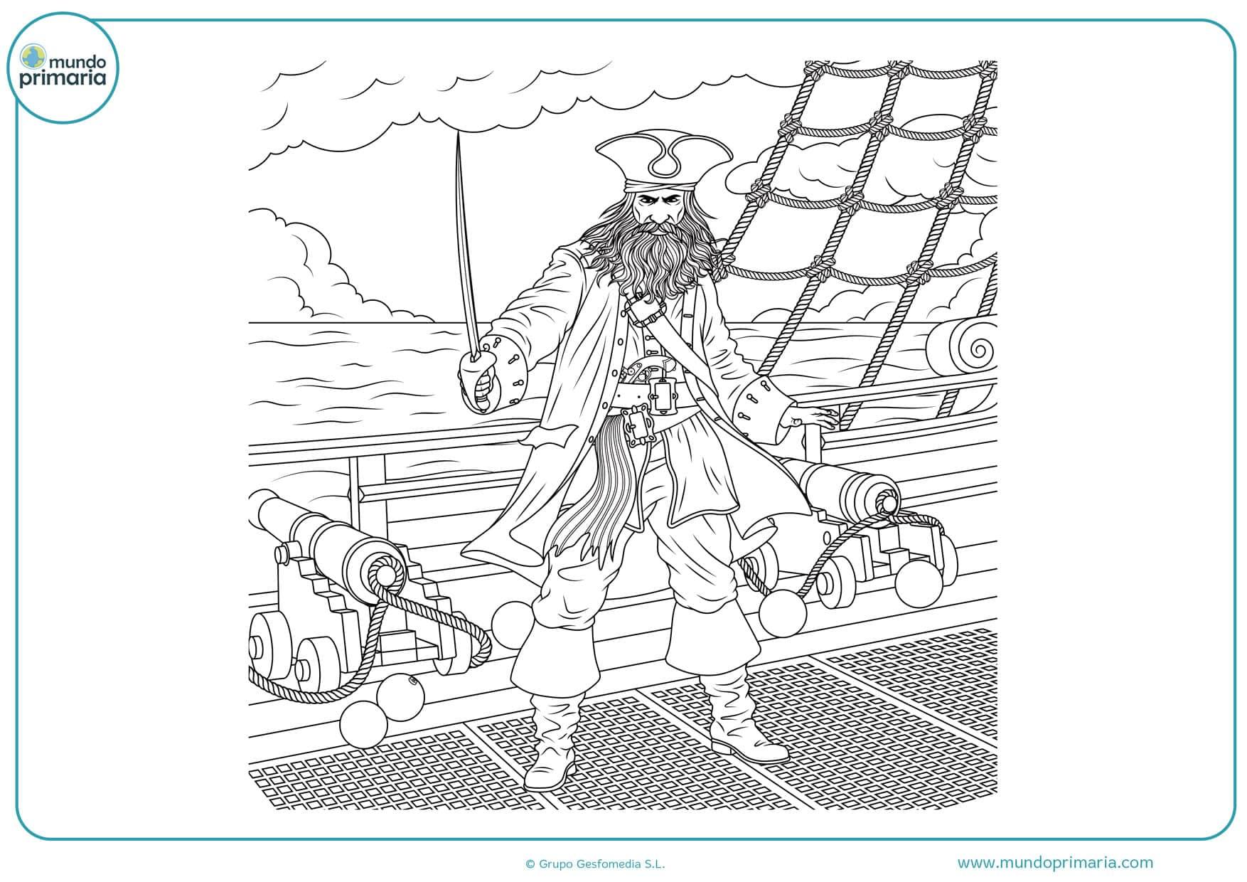 dibujos para colorear de piratas y espadas
