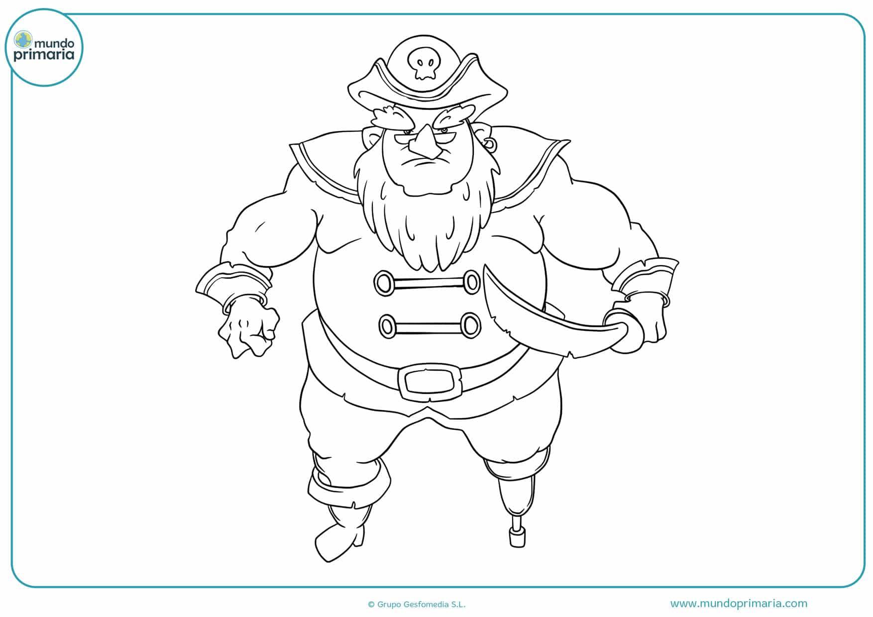 dibujos para colorear de piratas pierna de palo