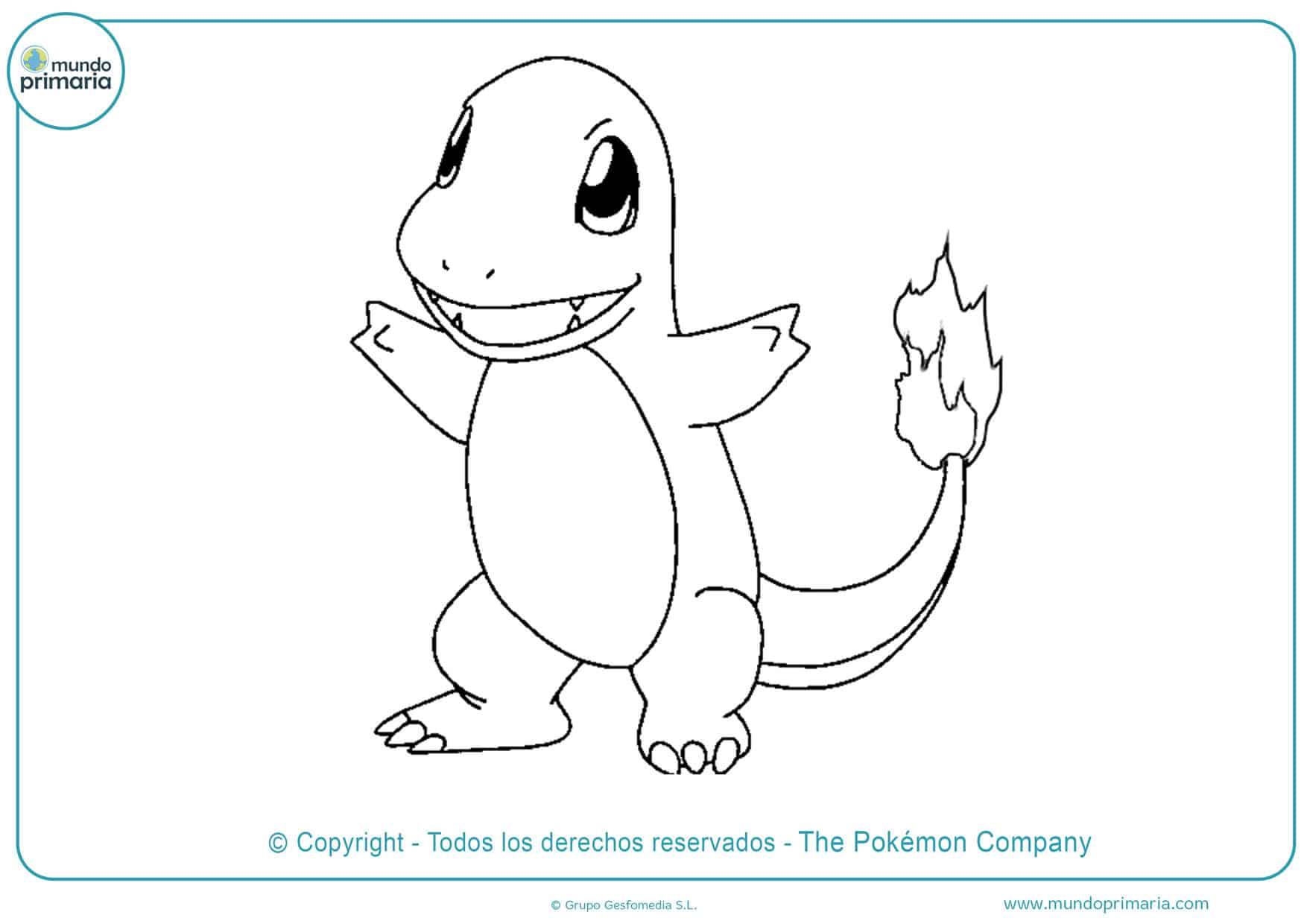 dibujos para colorear de pokémon charmander