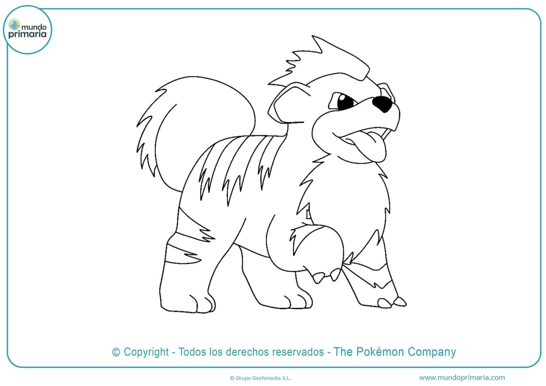 dibujos para colorear de pokémon growlithe