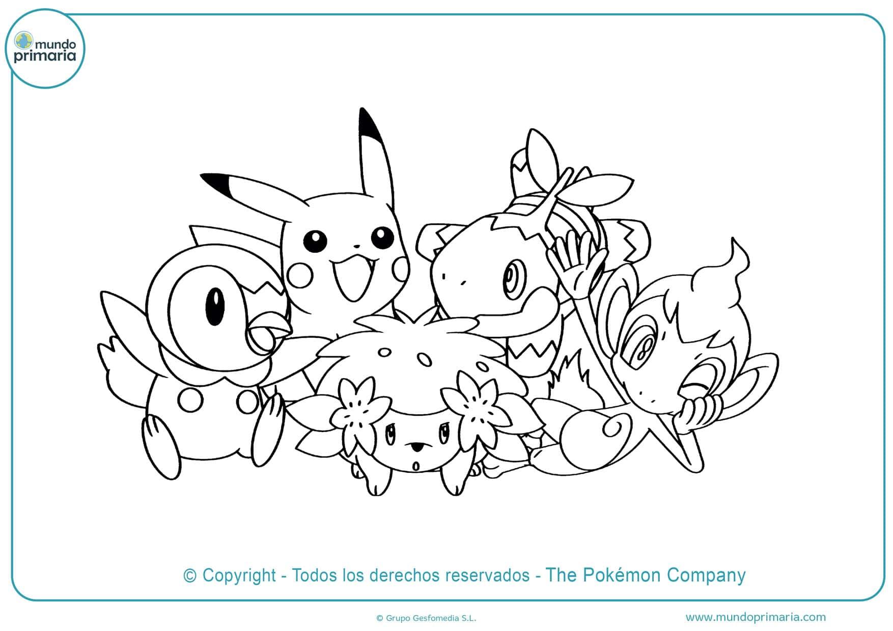 dibujos para colorear de pokémon iniciales