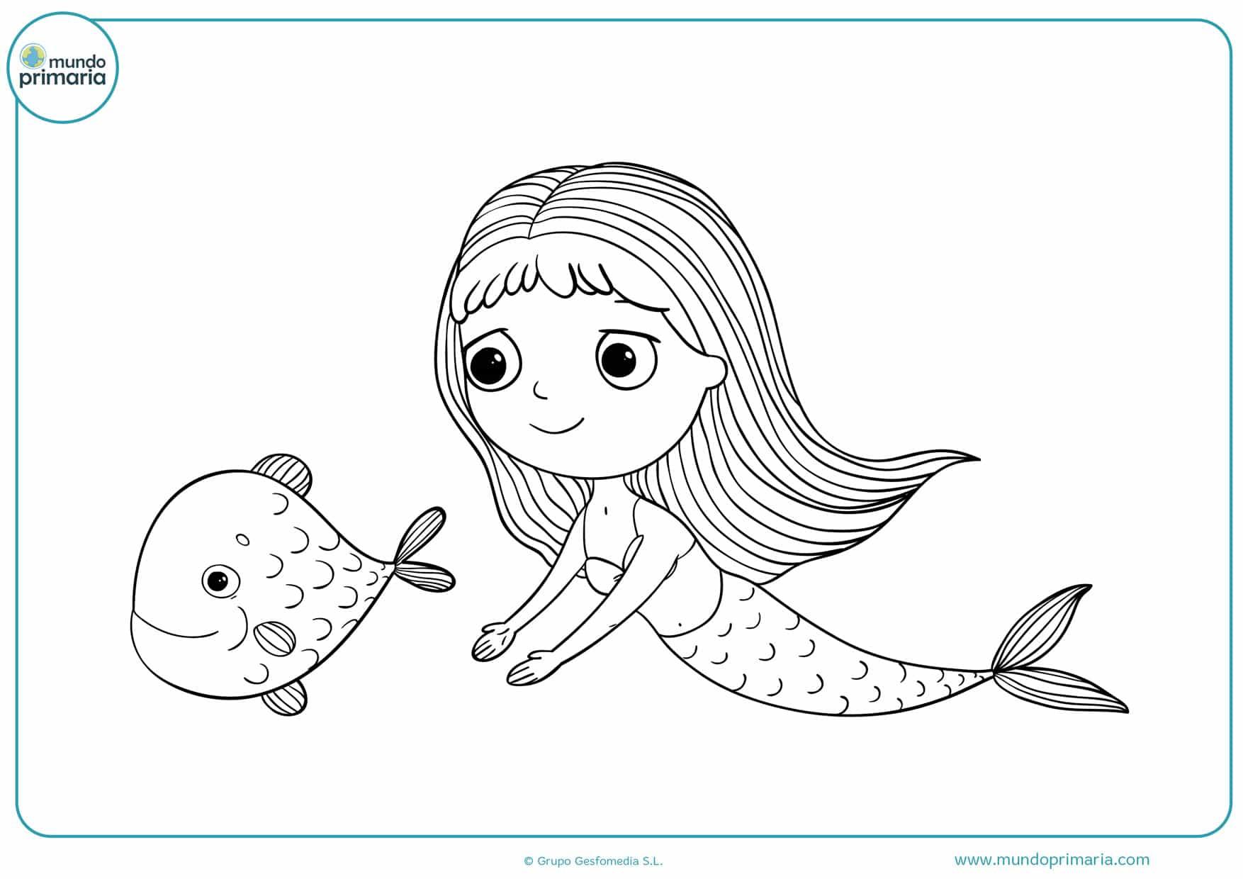 dibujos para colorear de sirenas del mar