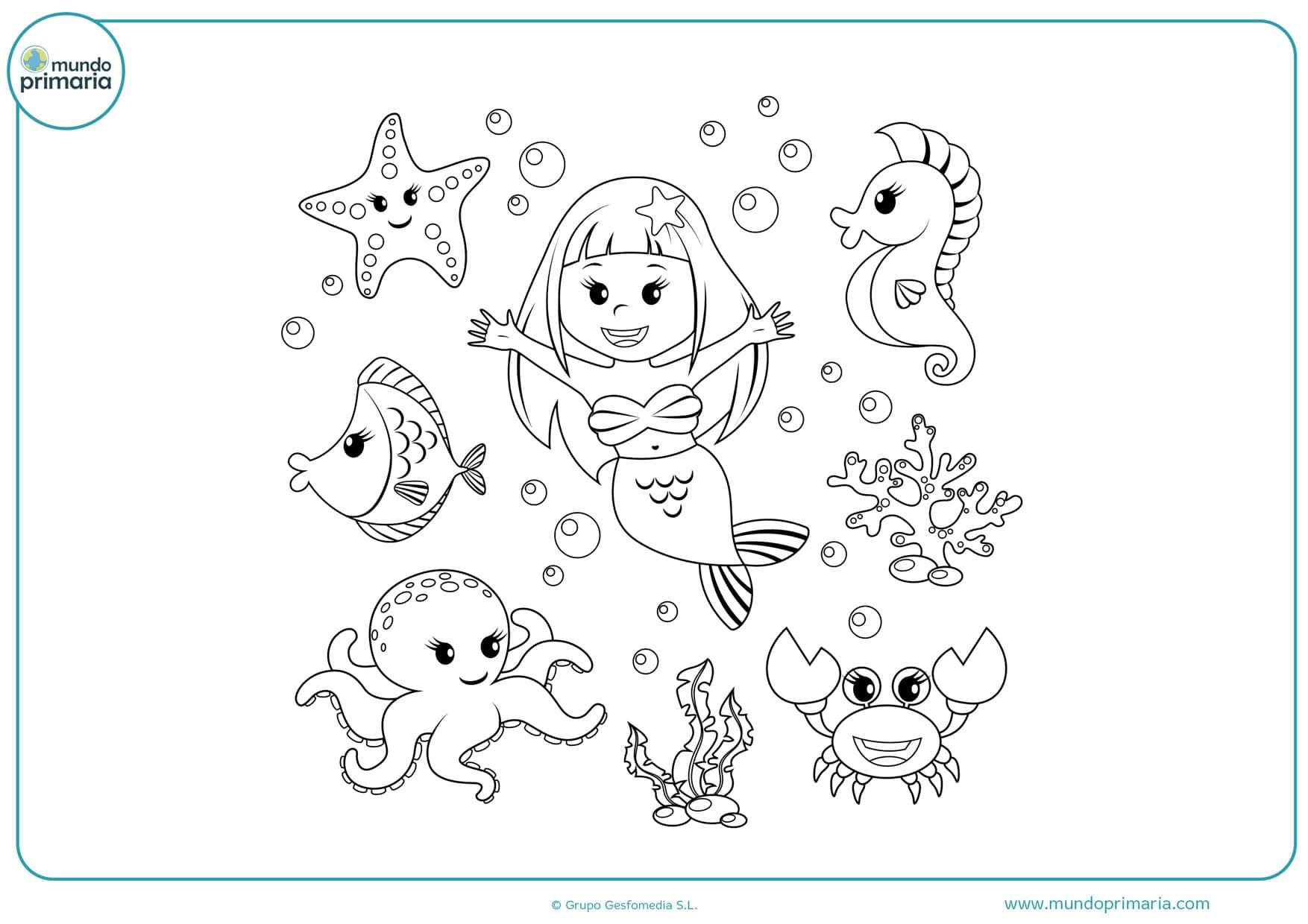 dibujos para colorear de sirenas y peces