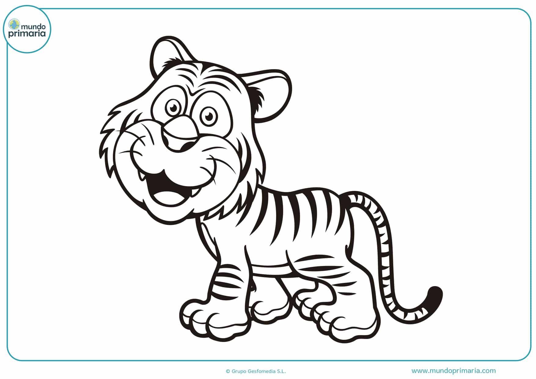 dibujos para colorear de tigres bebes