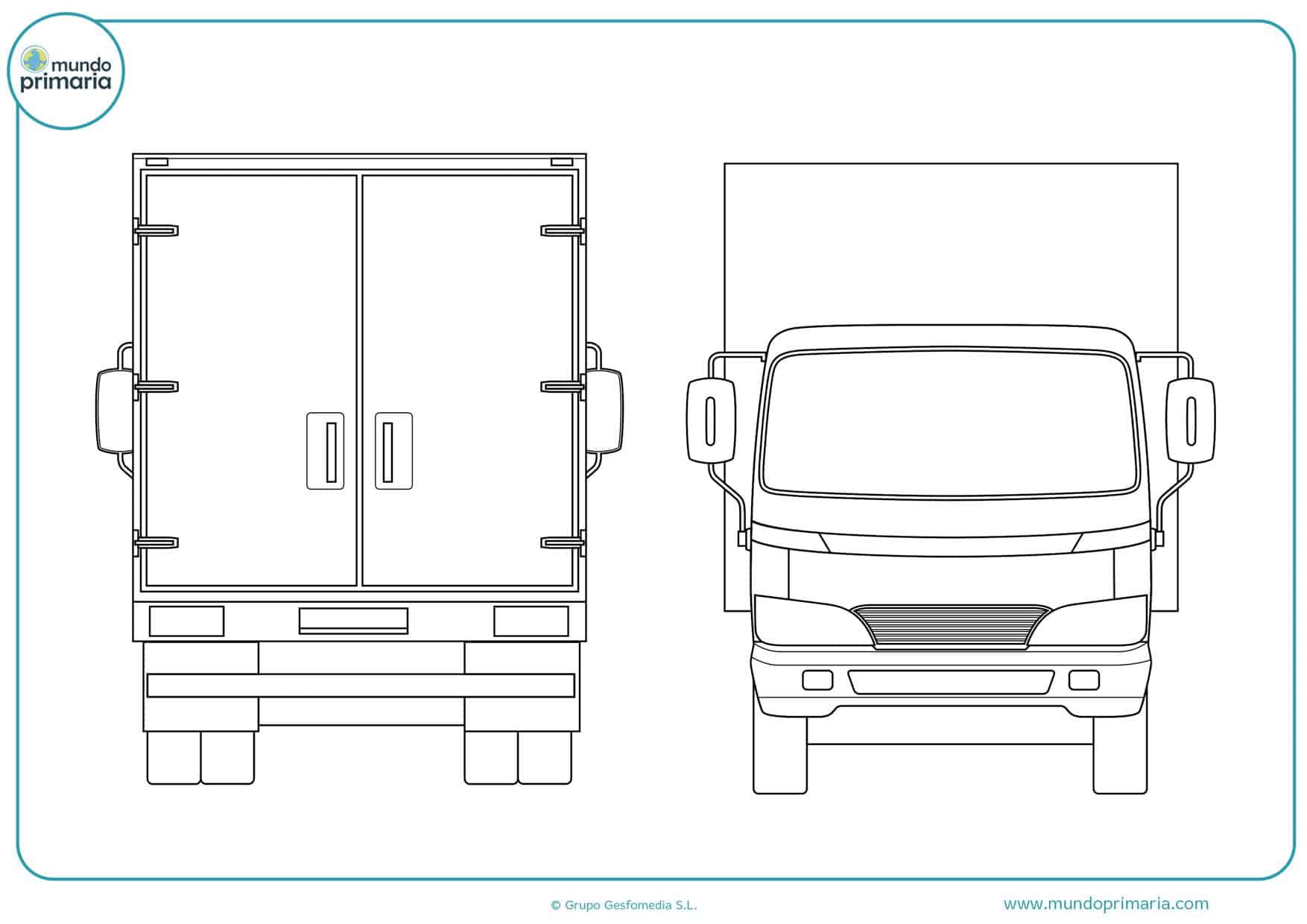 dibujos para imprimir y colorear de camiones