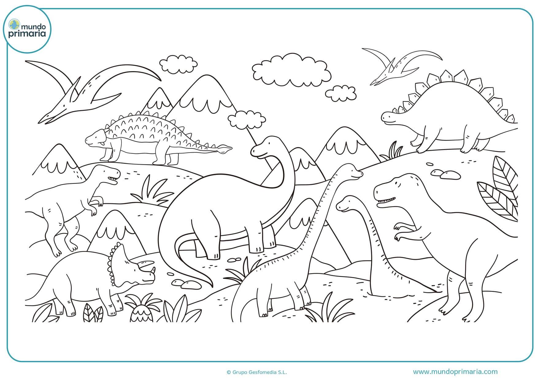 dibujos de paraiso de dinosaurios para colorear