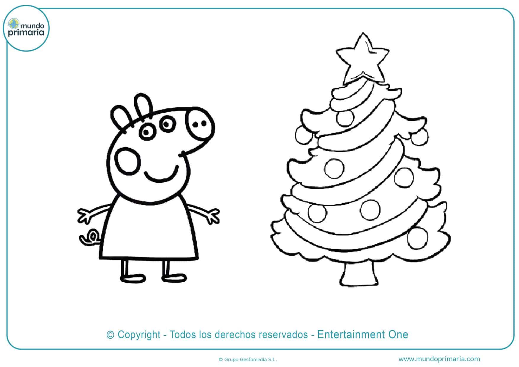 dibujos de peppa pig para colorear de navidad