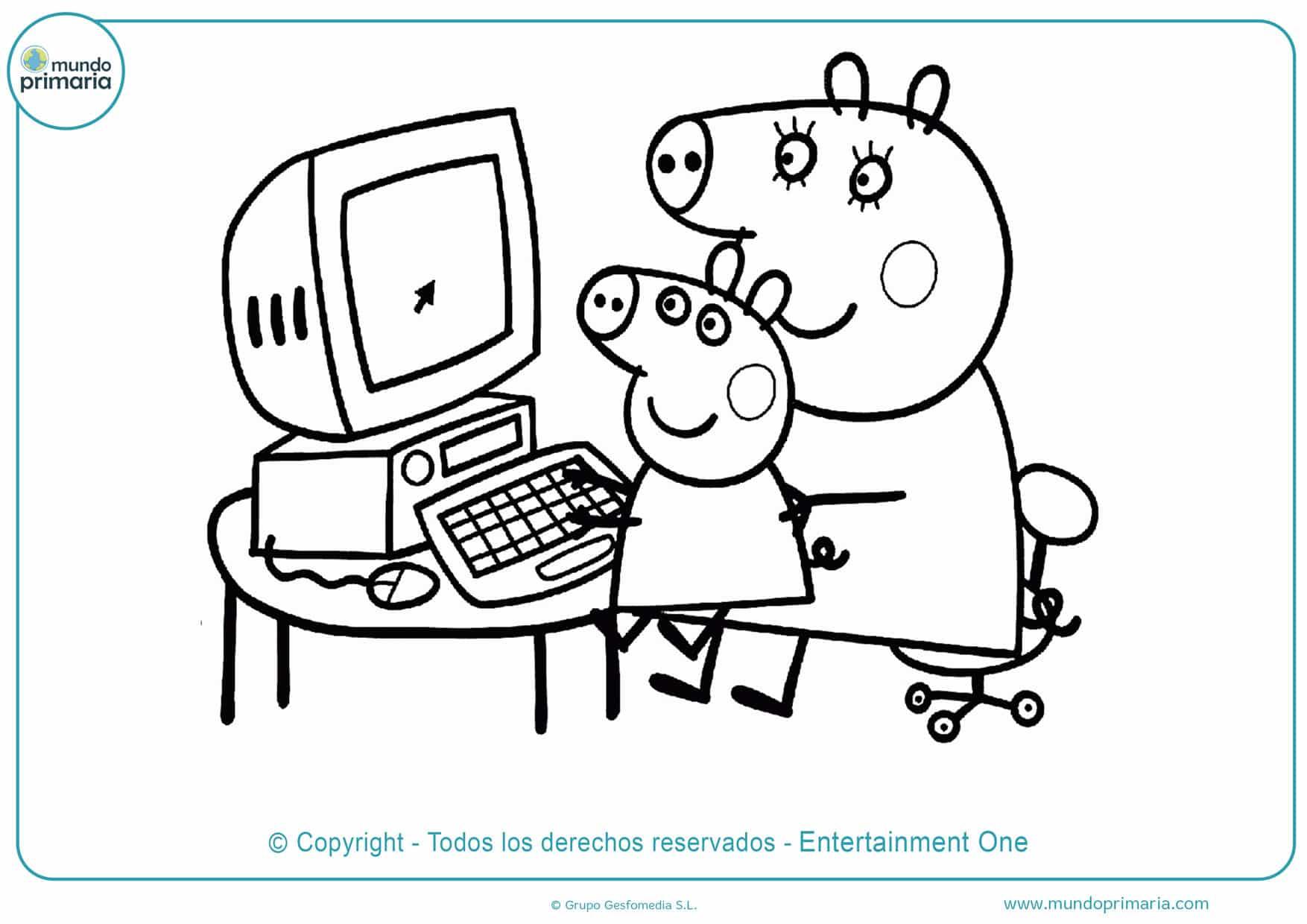 dibujos de peppa pig para colorear en el ordenador